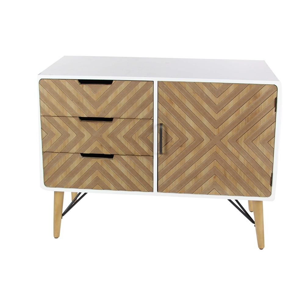 Litton Lane 39 In. X 30 In. 3-Drawer Chevron-Patterned Wood And inside Brown Chevron 4-Door Sideboards (Image 16 of 30)