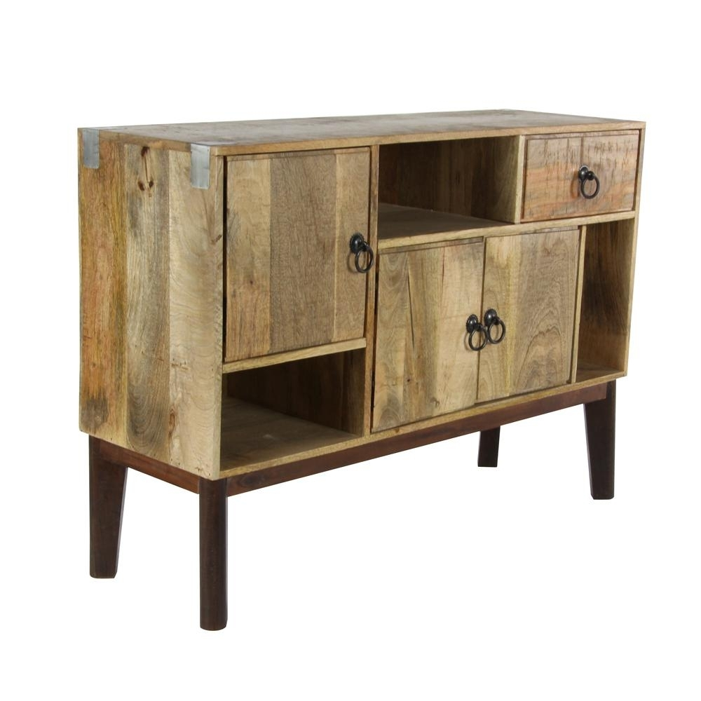 Litton Lane 41 In. X 29 In. Mid-Century Modern Natural Wood Brown throughout Natural Mango Wood Finish Sideboards (Image 11 of 30)