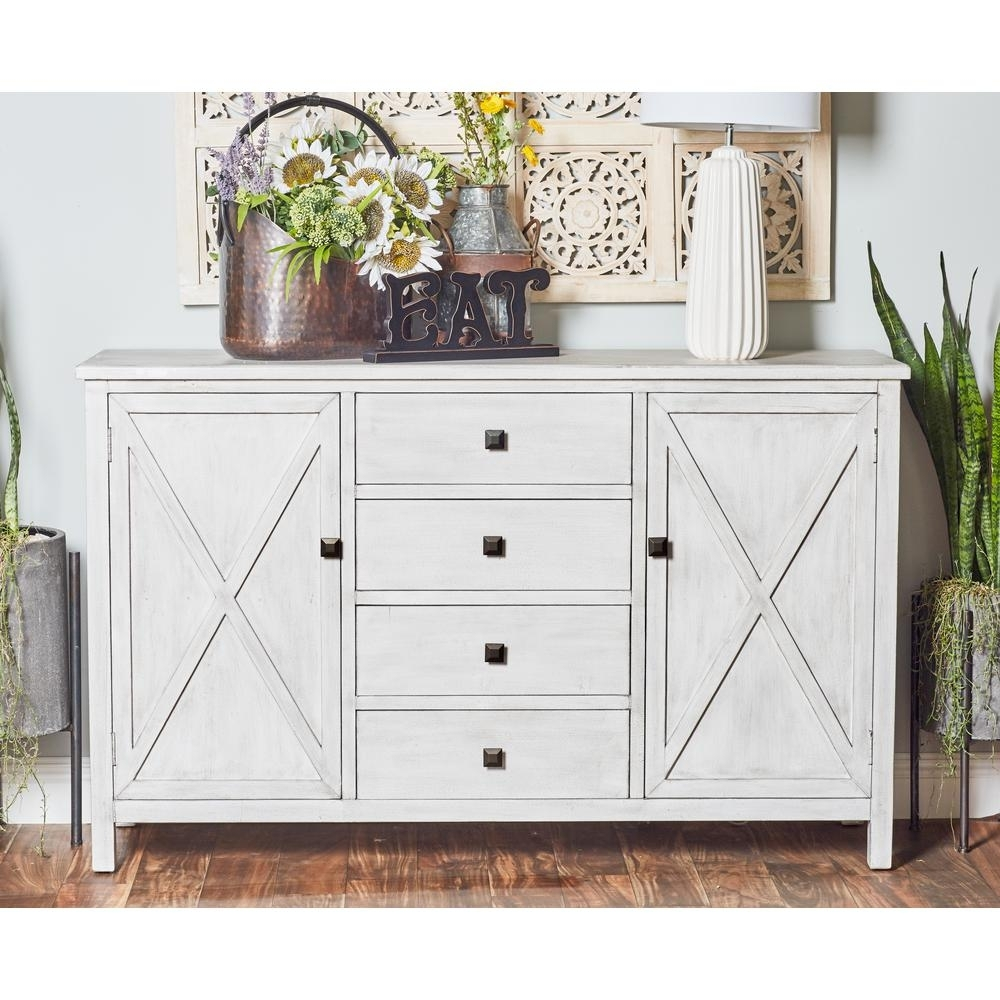 Litton Lane 57 In. X 36 In. Farmhouse Style Rectangular Buffet White with regard to 3-Drawer/2-Door White Wash Sideboards (Image 14 of 30)