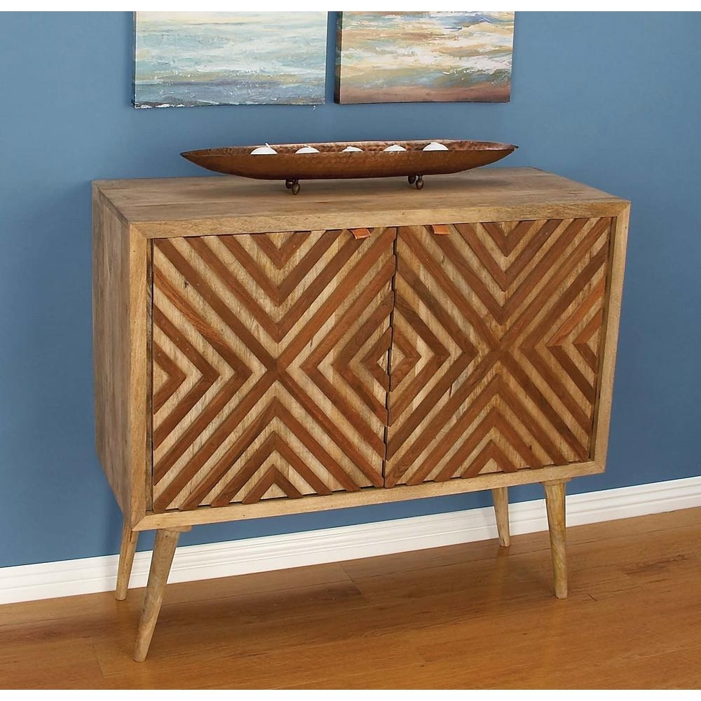 Litton Lane Chevron-Patterned Wooden Brown Cabinet-77675 - The Home regarding Brown Chevron 4-Door Sideboards (Image 17 of 30)