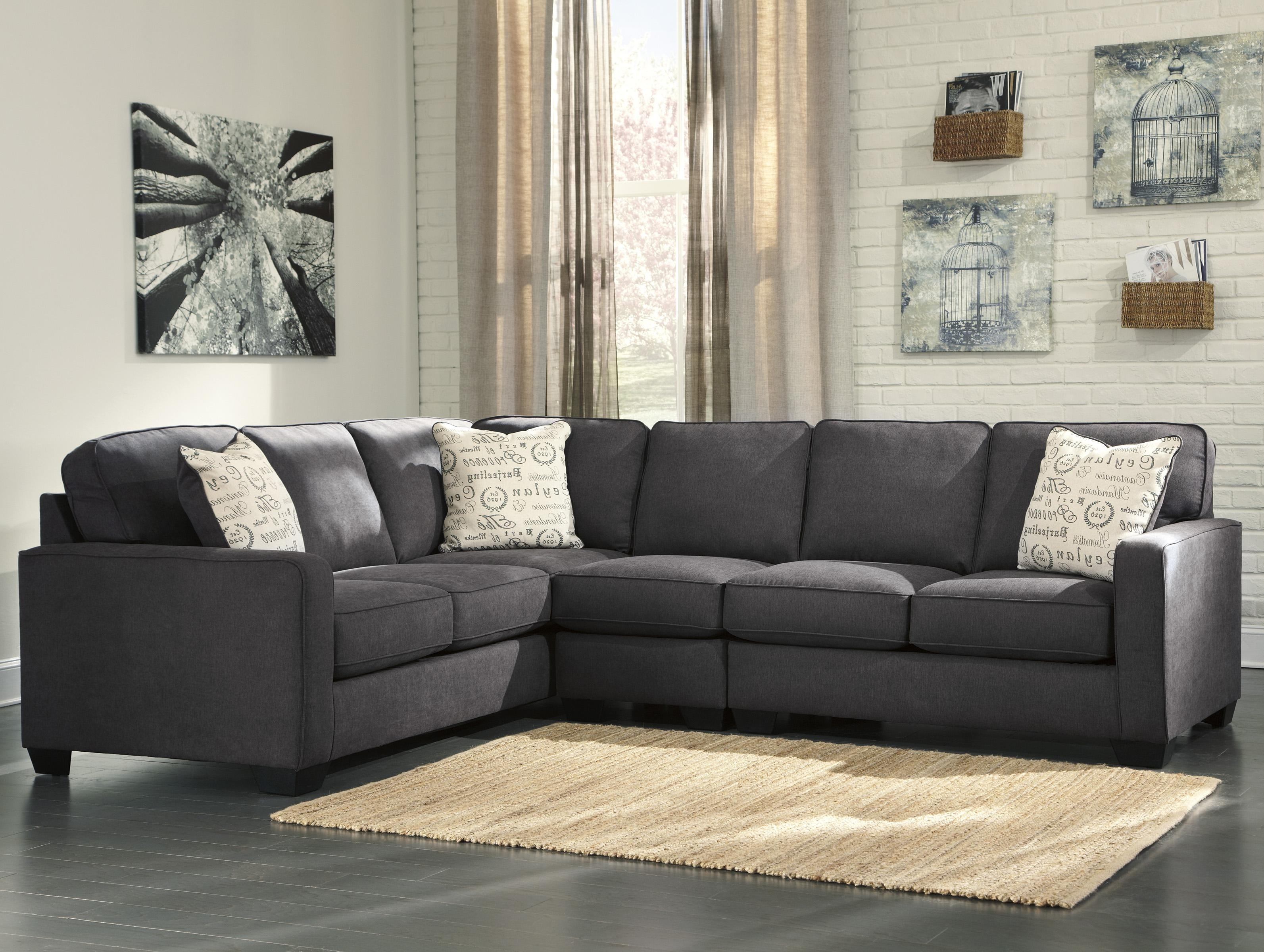 Living Room: Elegant Ashley Leather Sectional Sofa For Comfortable for Lucy Dark Grey 2 Piece Sleeper Sectionals With Raf Chaise (Image 12 of 30)