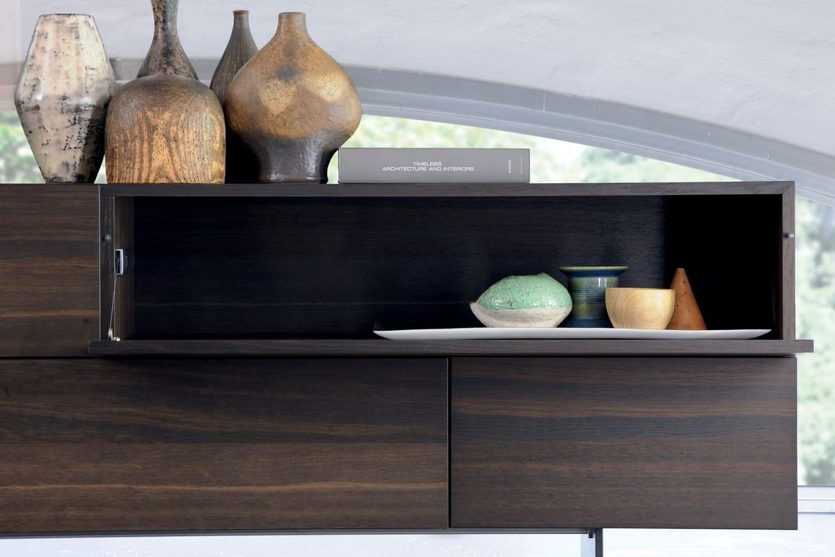 Living Room Furniture With Flap Doors | Idfdesign Regarding Ironwood 4 Door Sideboards (Photo 15 of 30)