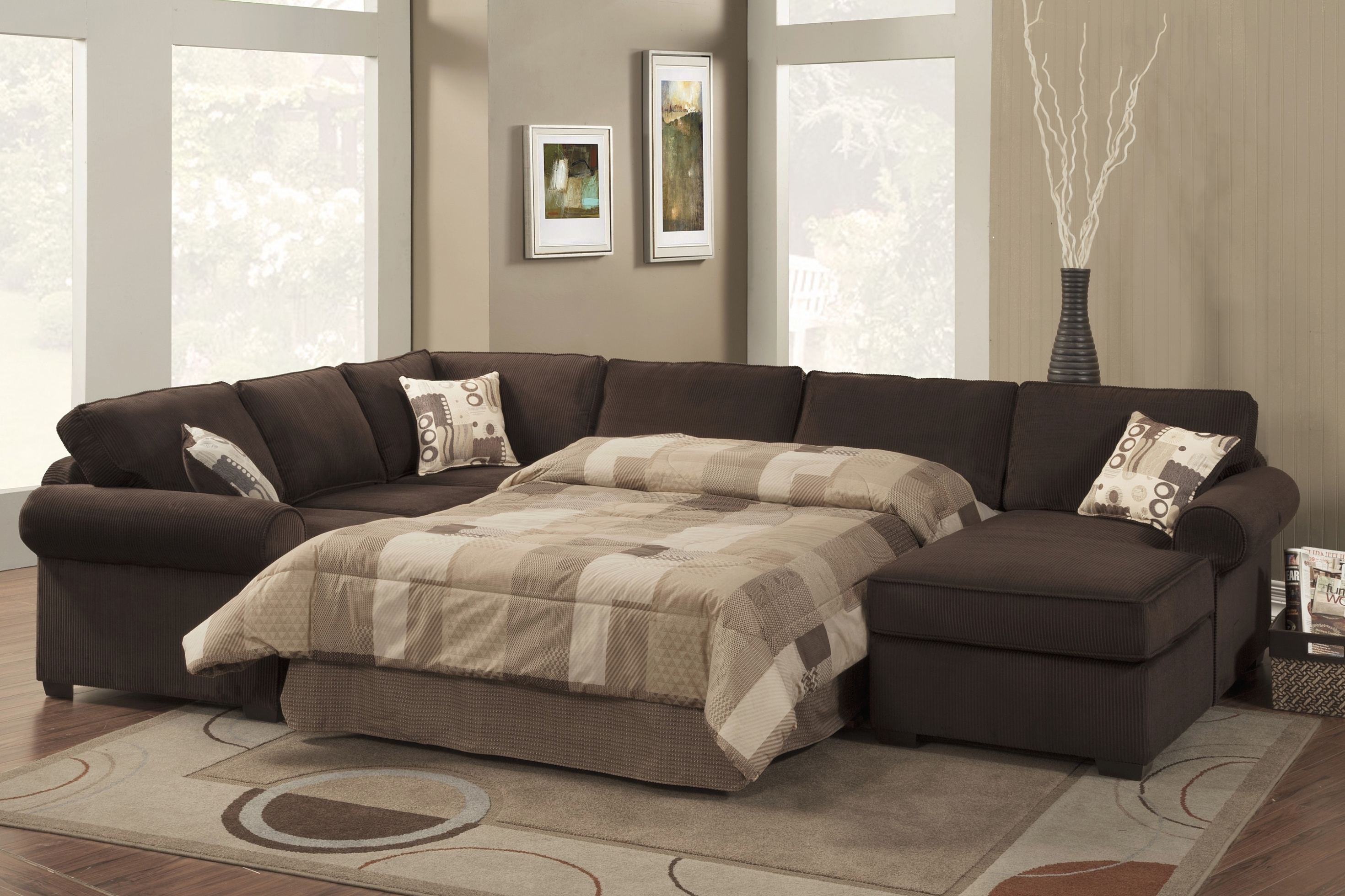 Living Room: Incredible Leather Sectional Sleeper Sofa With Chaise pertaining to Aspen 2 Piece Sleeper Sectionals With Laf Chaise (Image 13 of 30)