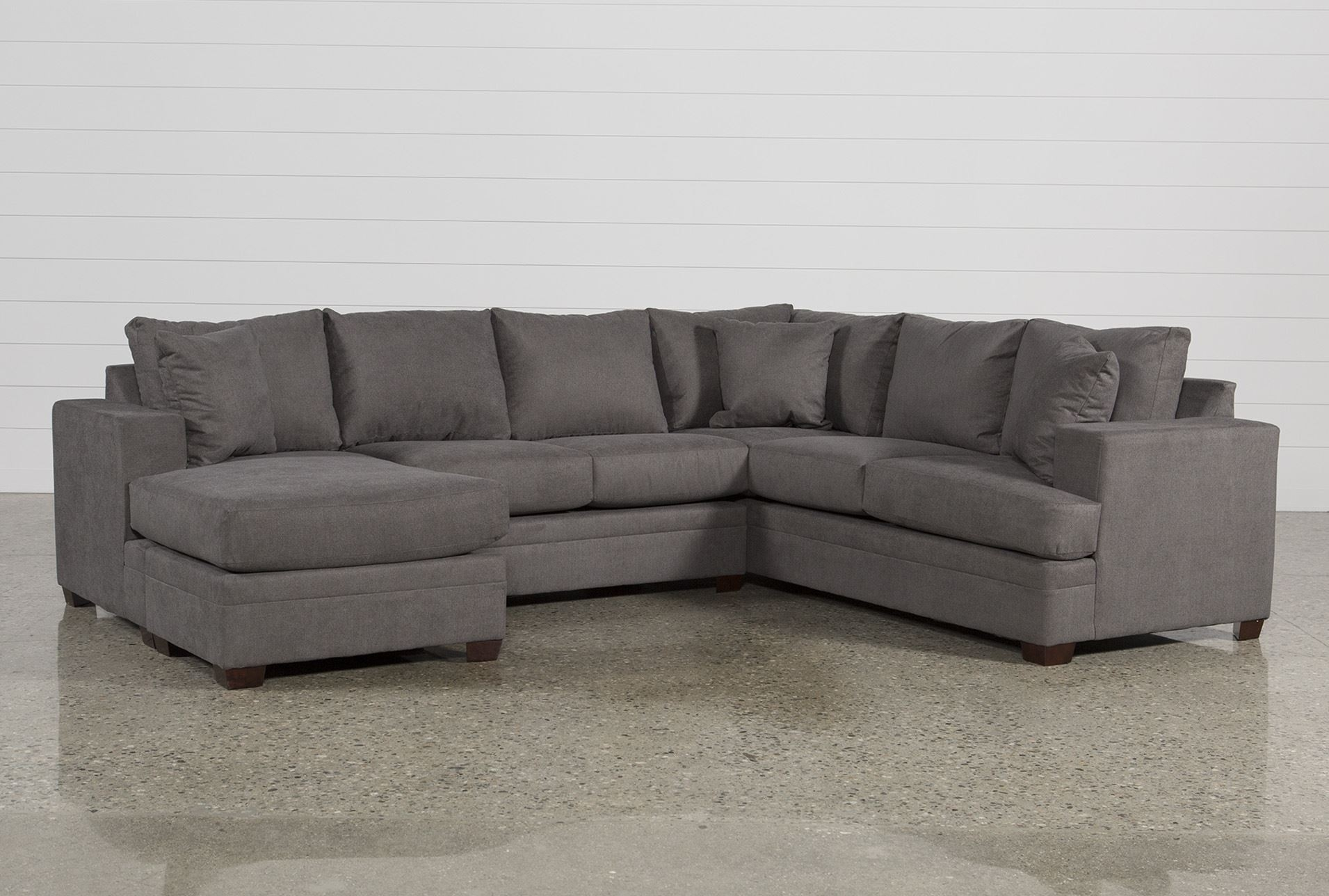 Living Spaces Leather Sectional - Implantologiabogota.co throughout Tatum Dark Grey 2 Piece Sectionals With Raf Chaise (Image 13 of 30)