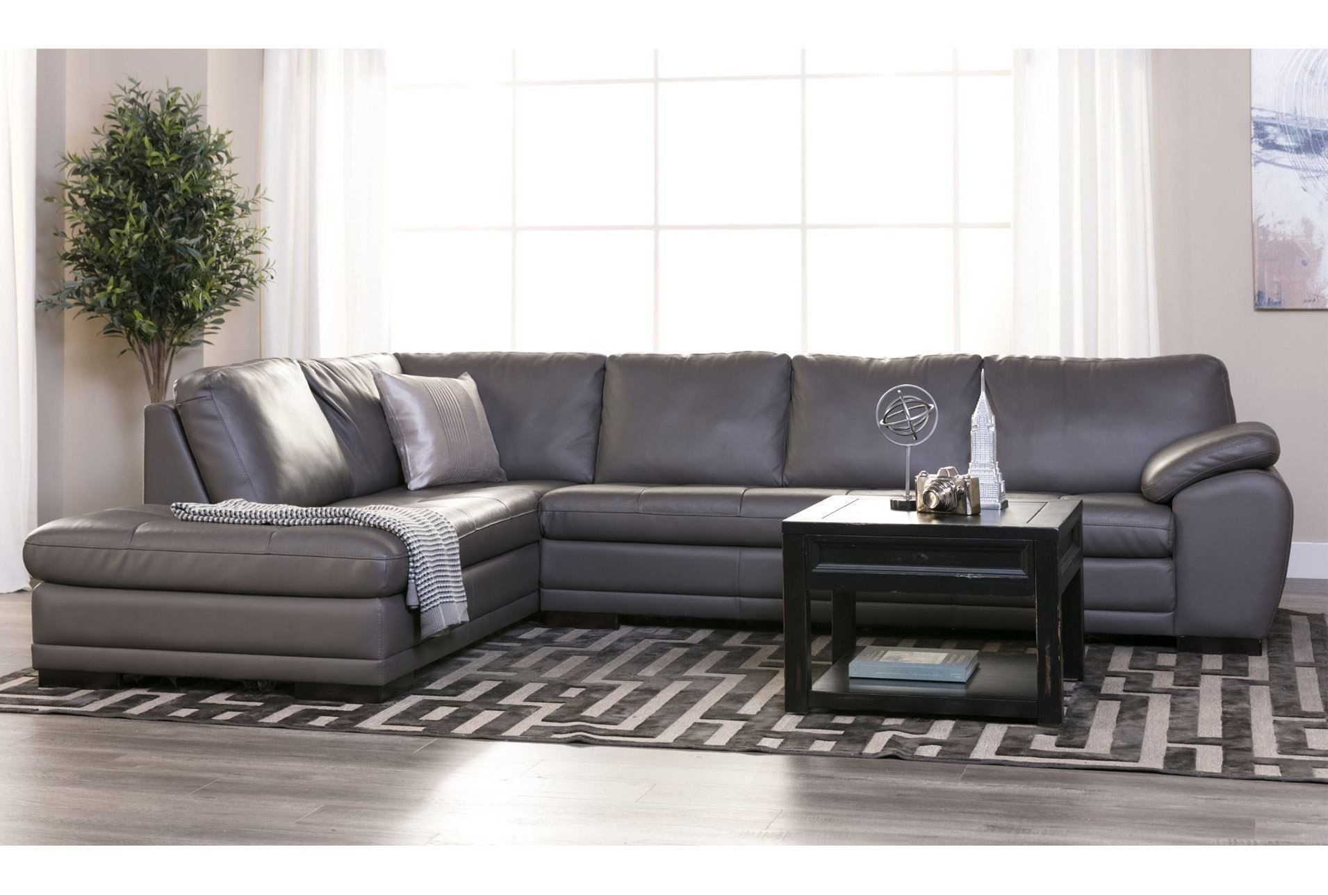 Living Spaces Leather Sectional - Implantologiabogota.co with Gordon 3 Piece Sectionals With Raf Chaise (Image 21 of 30)