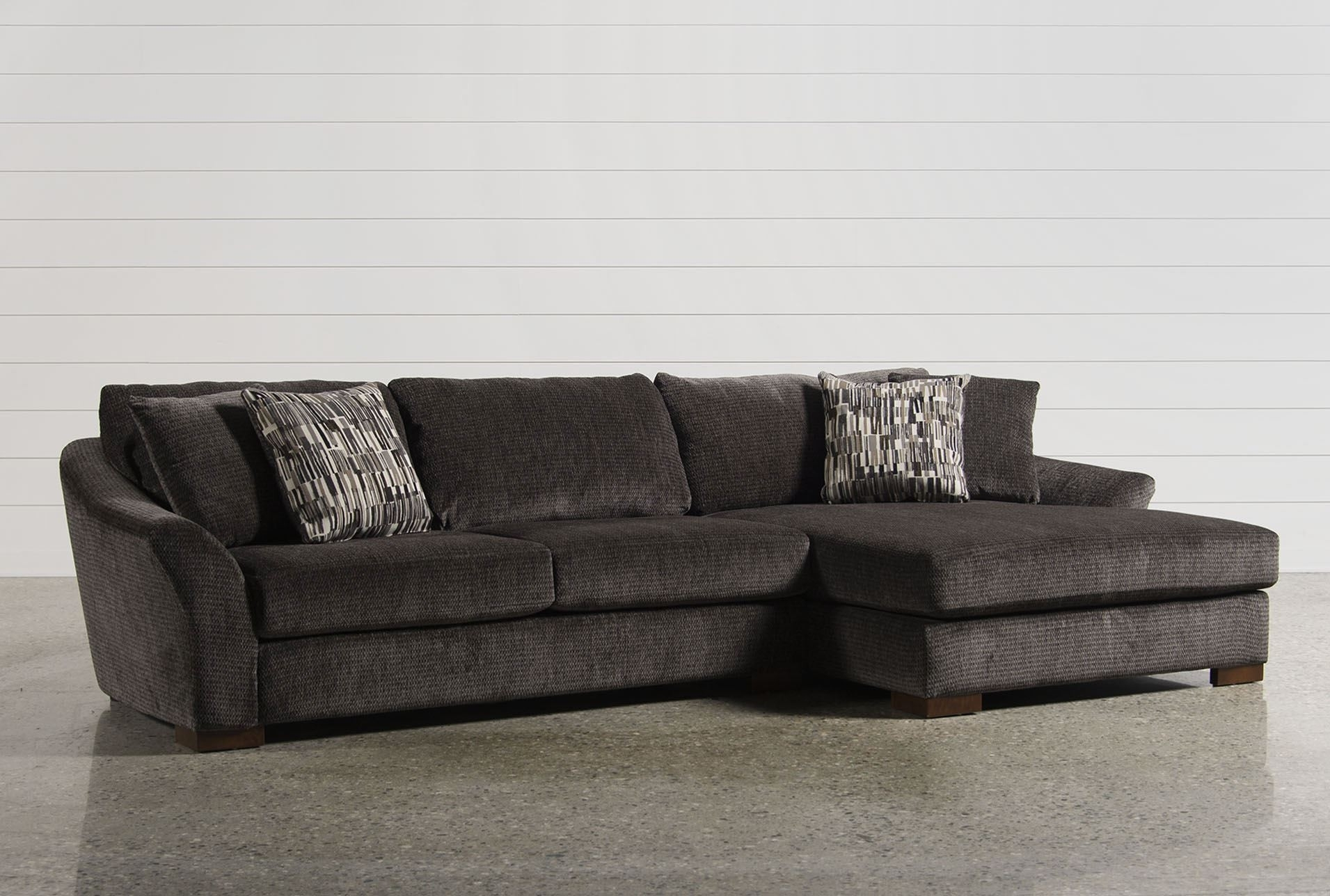 Living Spaces Sectional - Tidex in Cosmos Grey 2 Piece Sectionals With Raf Chaise (Image 18 of 30)