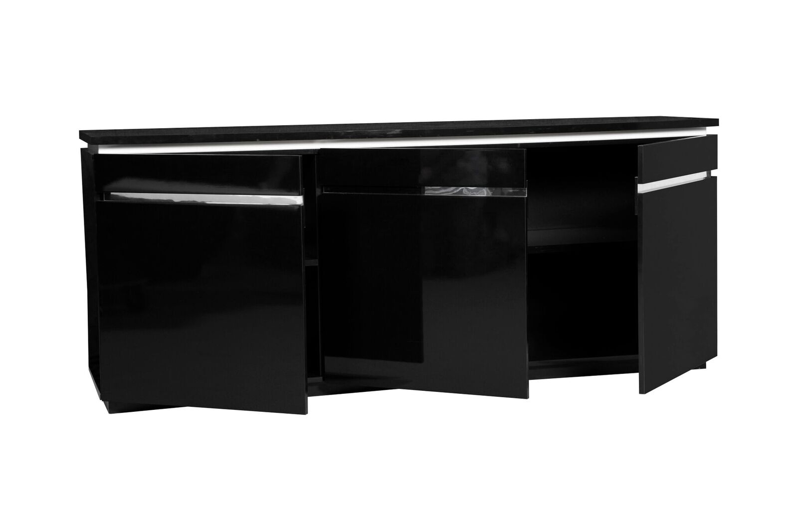 Logan Modern Black Sideboard High Gloss & Lights | Sideboards | Fads inside Logan Sideboards (Image 9 of 30)