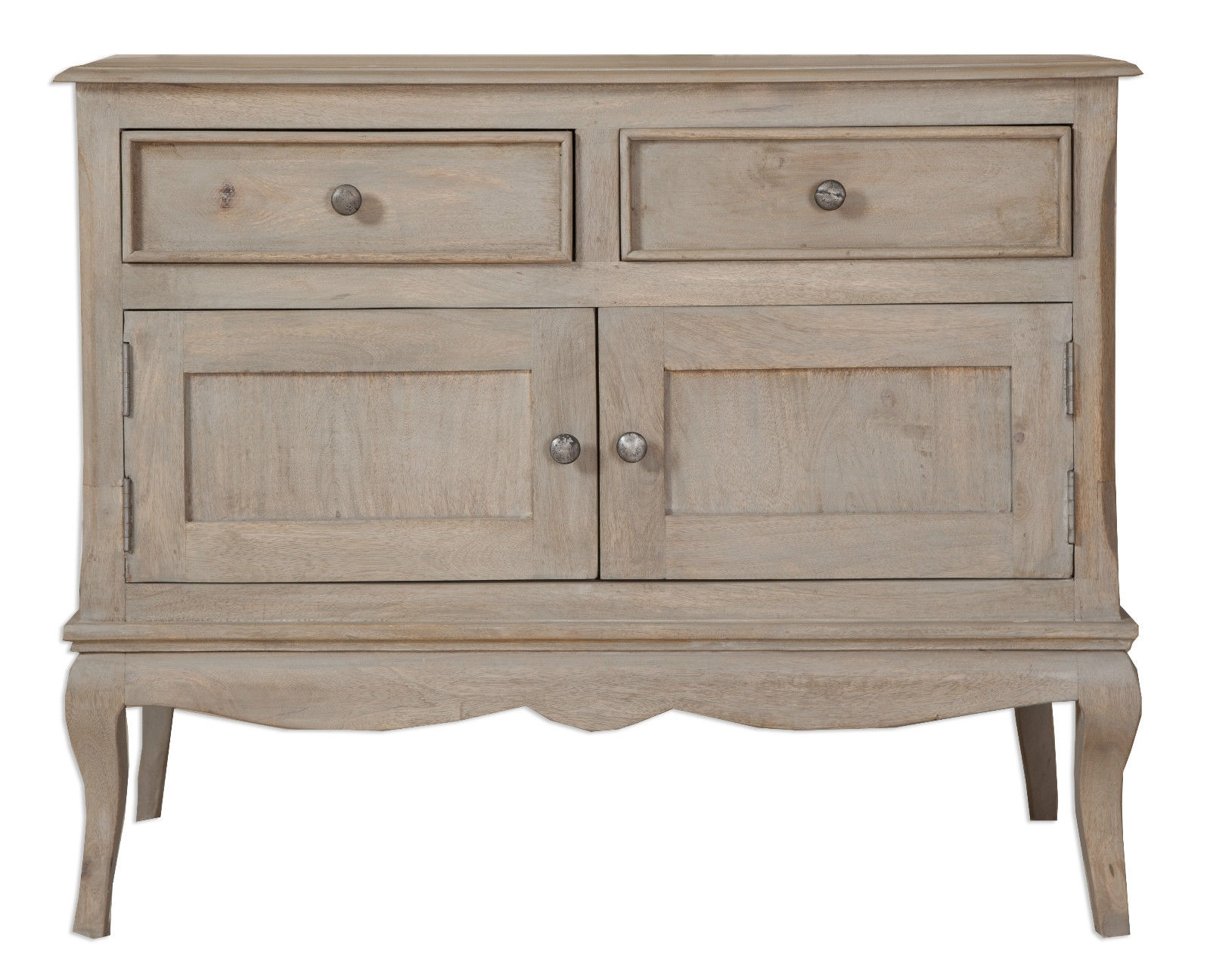 Loire French Grey Solid Mango Wood 2 Door / 2 Drawer Sideboard Throughout Mango Wood Grey 4 Drawer 4 Door Sideboards (View 13 of 30)
