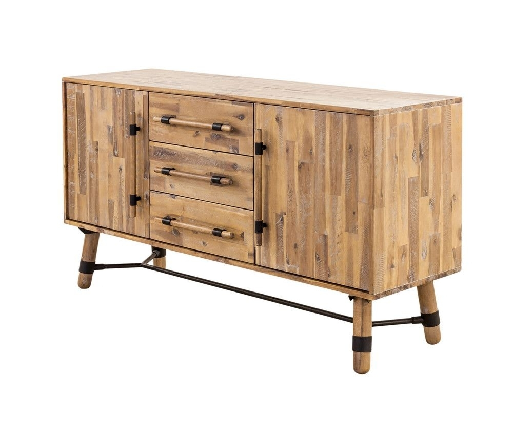 Popular Photo of Corrugated Natural 4 Drawer Sideboards