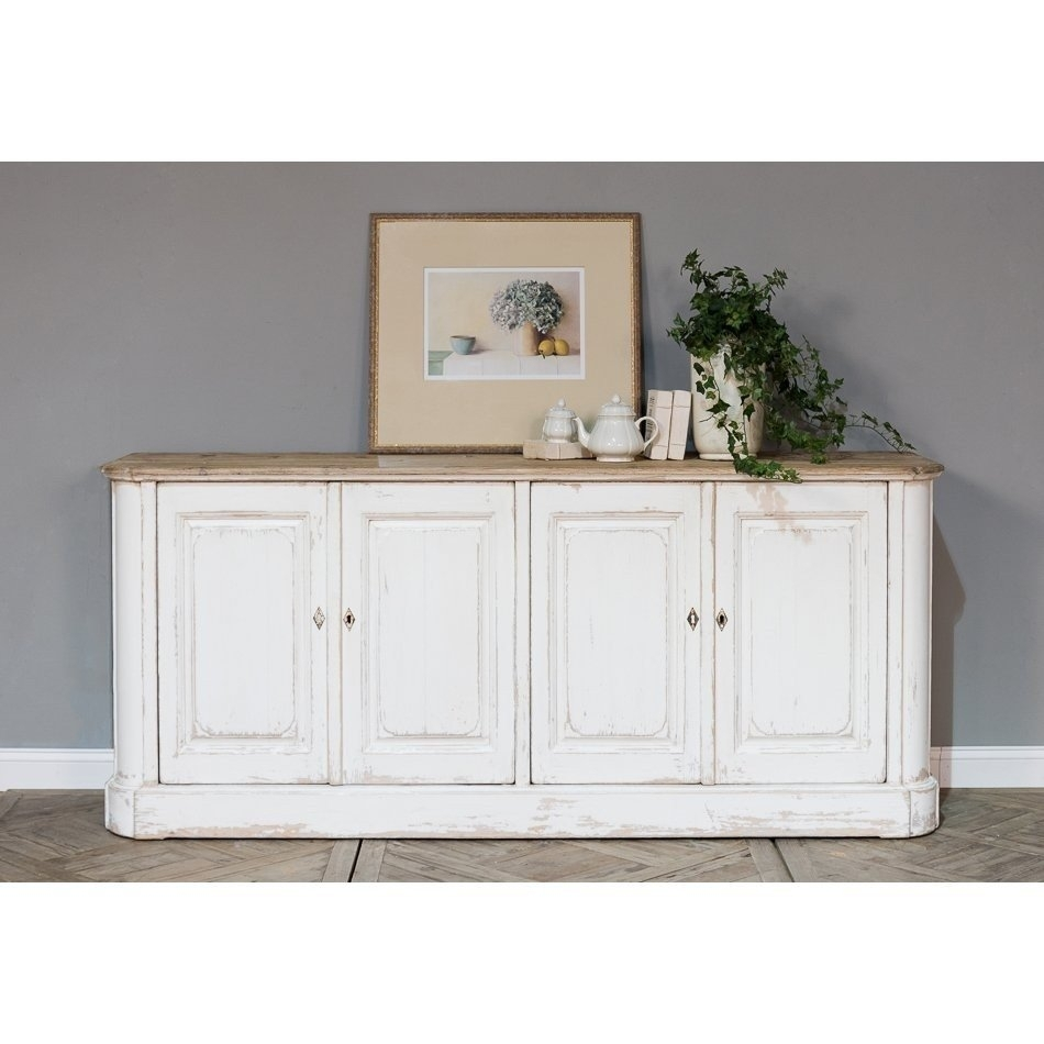 Long Wood Top Farmhouse Sideboard | Belle Escape with White Wash 4-Door Sideboards (Image 12 of 30)