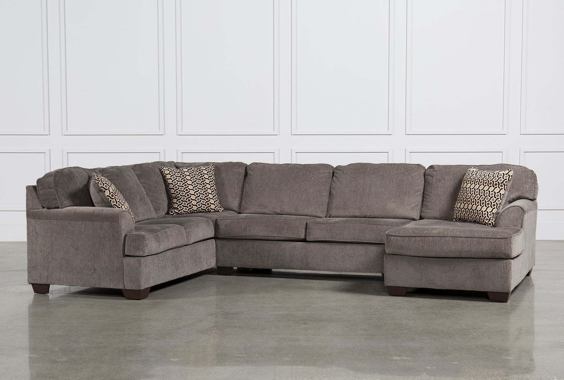 Loric Smoke 3 Piece Sectional W/raf Chaise | Upholstery, Pillows And with Malbry Point 3 Piece Sectionals With Laf Chaise (Image 25 of 30)