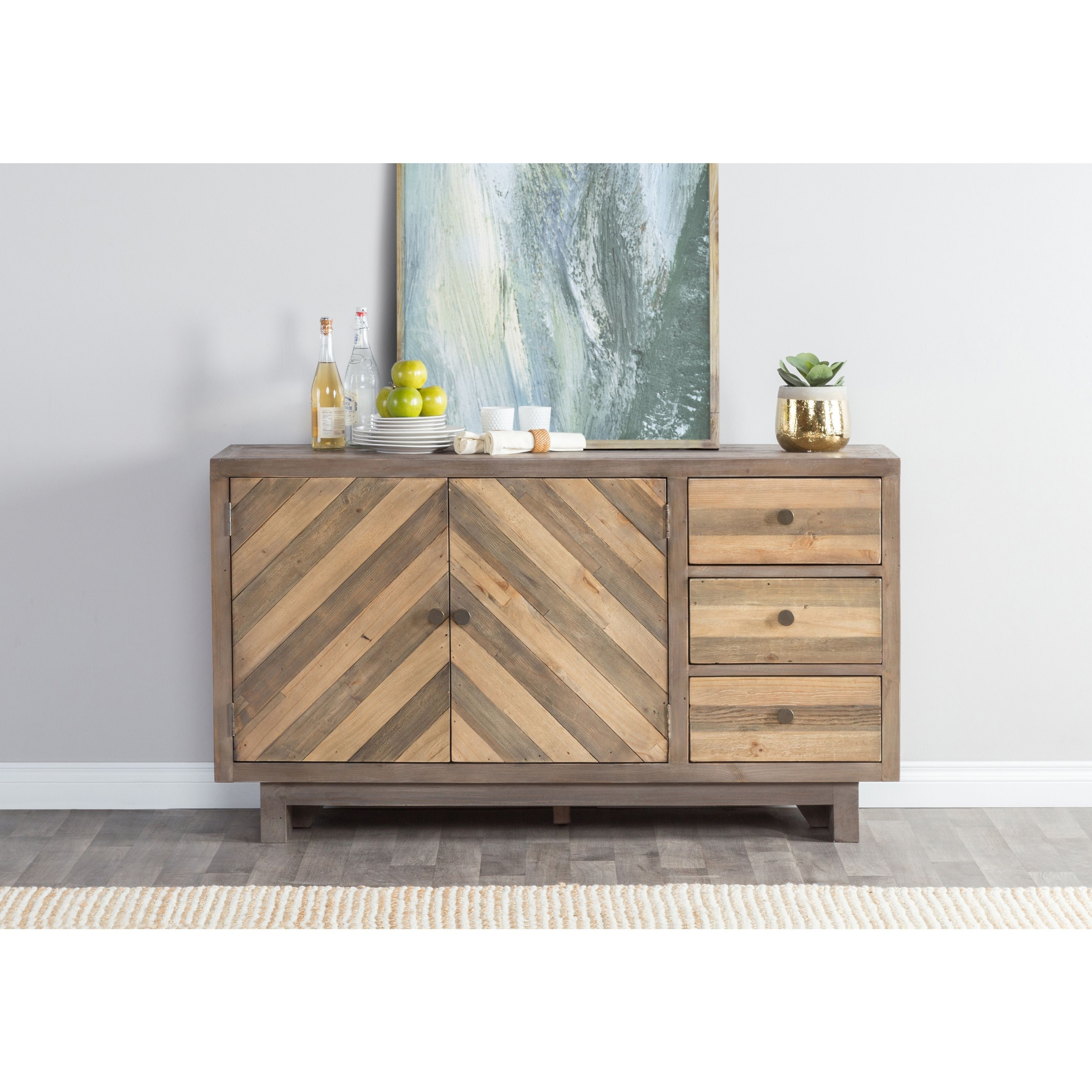 Los Santos Reclaimed Wood 63 Inch Chevron Sideboardkosas Home (3 With Brown Chevron 4 Door Sideboards (View 19 of 30)
