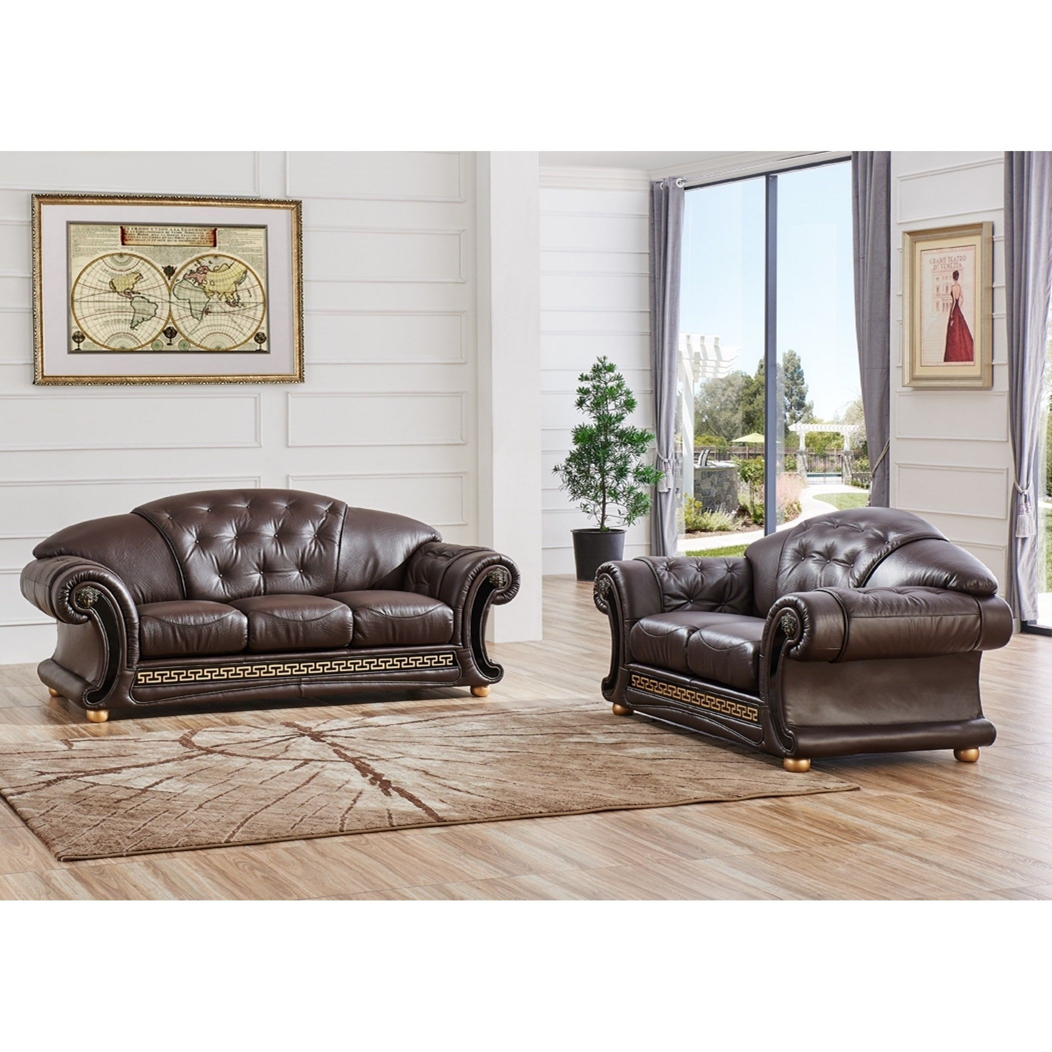 Luca Home 2-Piece Split Brown Leather Living Room Set (Brown Half regarding Clyde Saddle 3 Piece Power Reclining Sectionals With Power Headrest & Usb (Image 22 of 30)