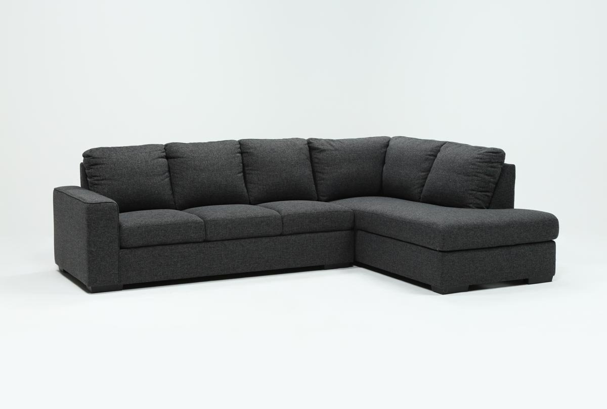 Lucy Dark Grey 2 Piece Sleeper Sectional W/raf Chaise | Living Spaces within Lucy Grey 2 Piece Sleeper Sectionals With Laf Chaise (Image 19 of 30)