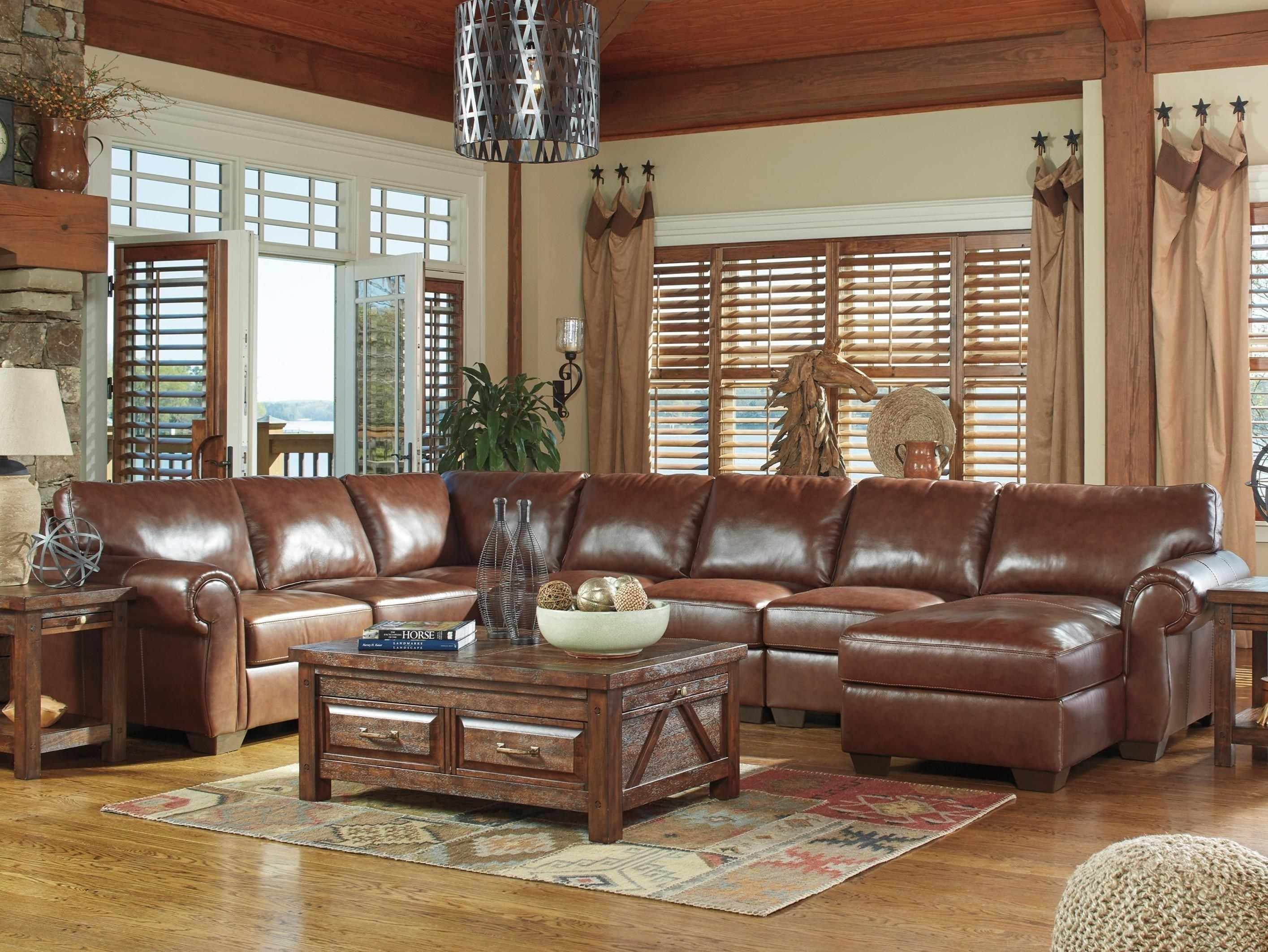 Lugoro 5-Piece Sectional With Right Chaisesignature Design with regard to Denali Light Grey 6 Piece Reclining Sectionals With 2 Power Headrests (Image 22 of 30)