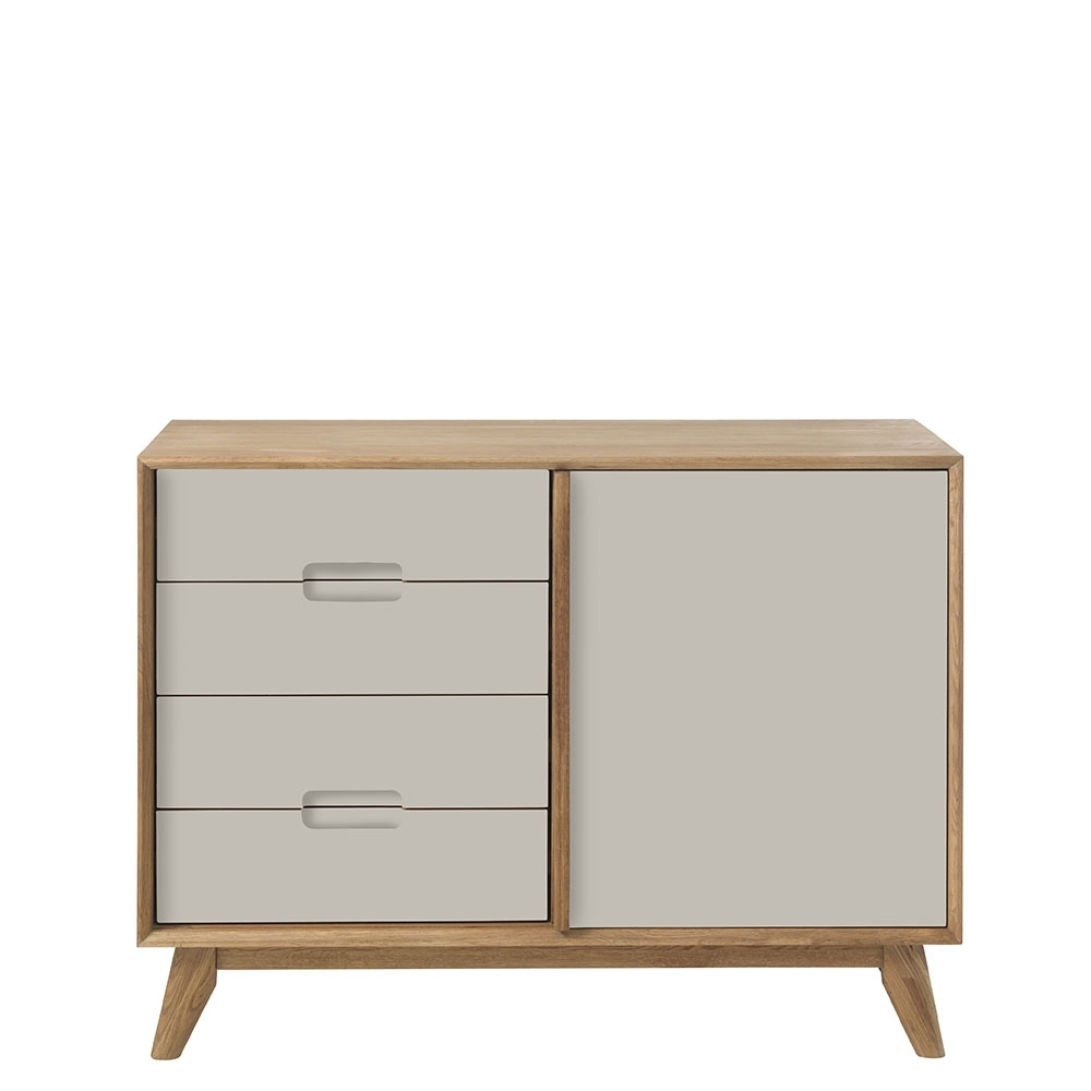 Lund 2 Section Sideboard, Grey | Sideboards | Dining Room intended for 2-Door Mirror Front Sideboards (Image 17 of 30)