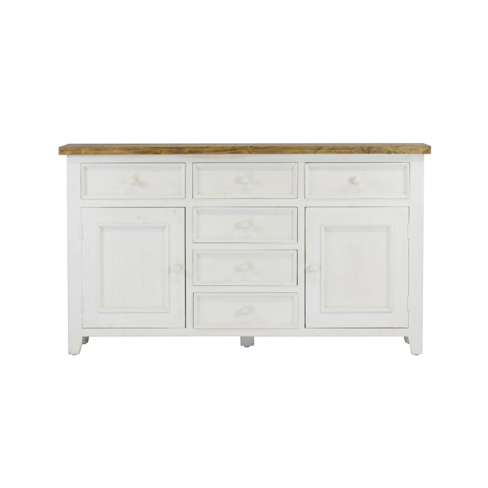 Lux Home Byron Distressed White Solid Reclaimed Wood Sideboard With with Antique Walnut Finish 2-Door/4-Drawer Sideboards (Image 17 of 30)