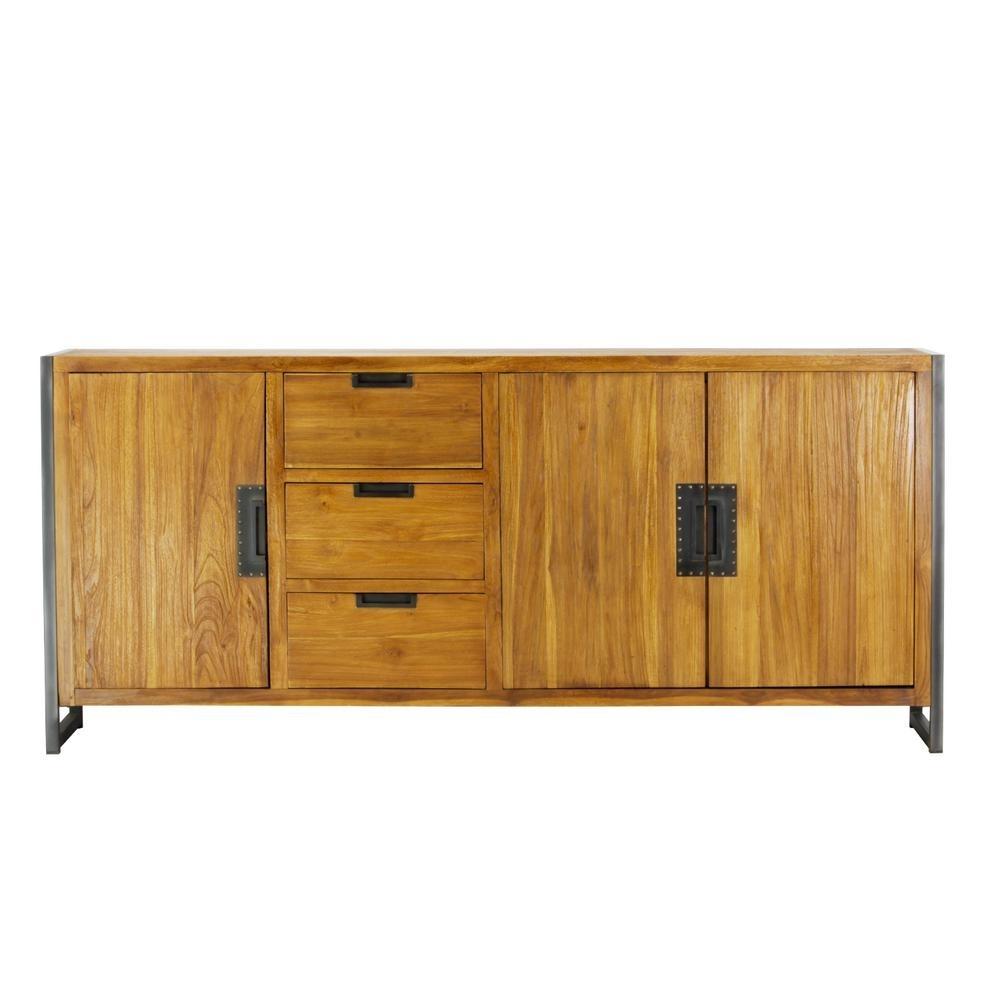 Lux Home Sumatra Industrial Metal Solid Natural Teak Wood Sideboard inside Industrial 3 Drawer 3 Door Sideboards (Image 21 of 30)