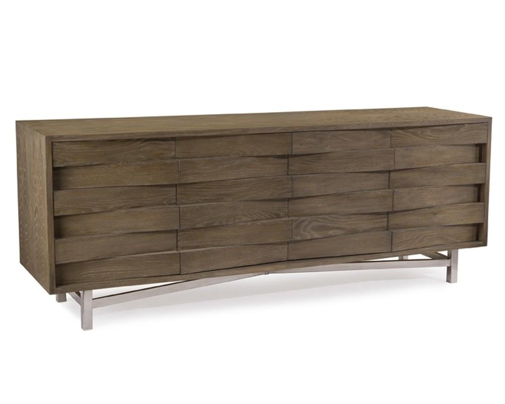 Luxe Wedge Sideboard in Brown Chevron 4-Door Sideboards (Image 19 of 30)