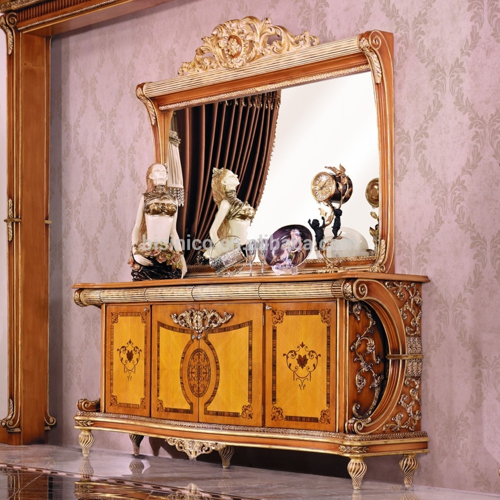 Luxury French Style Empire Dining Room Sideboard/european Wood Within Carved 4 Door Metal Frame Sideboards (View 25 of 30)