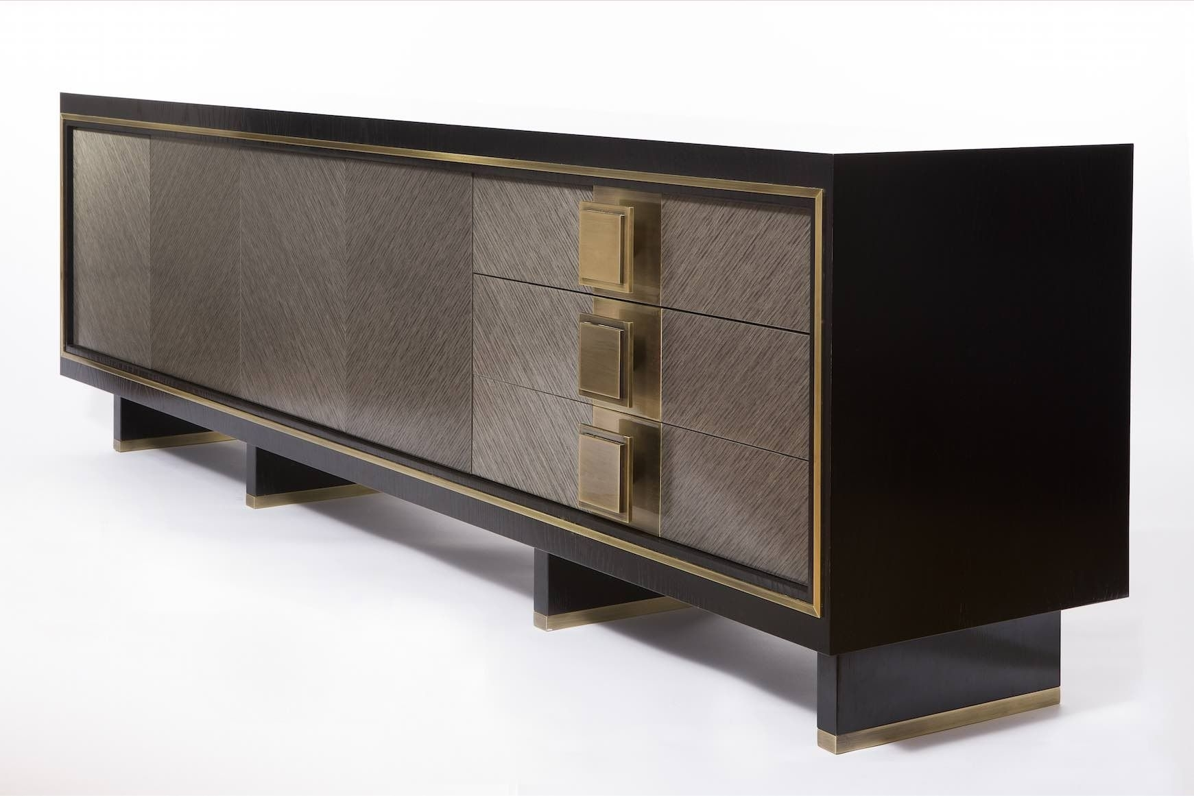 Luxury Sideboard. Grey And Dark Sideboard. Golden Details. Luxury regarding Rani 4 Door Sideboards (Image 12 of 30)