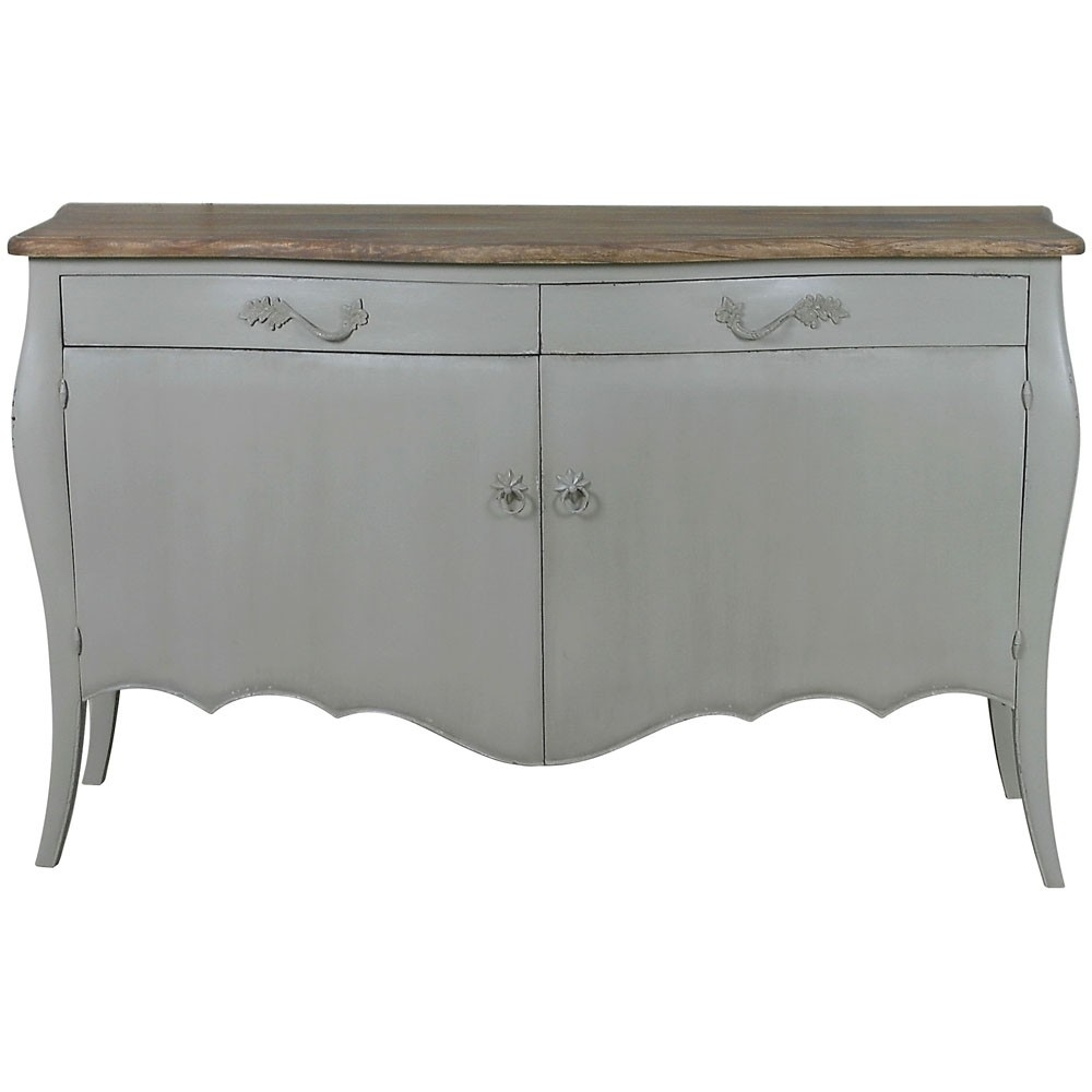 Lyon 2 Door French Sideboard | French Carved Sideboards | Shabby with Antique White Distressed 3-Drawer/2-Door Sideboards (Image 18 of 30)
