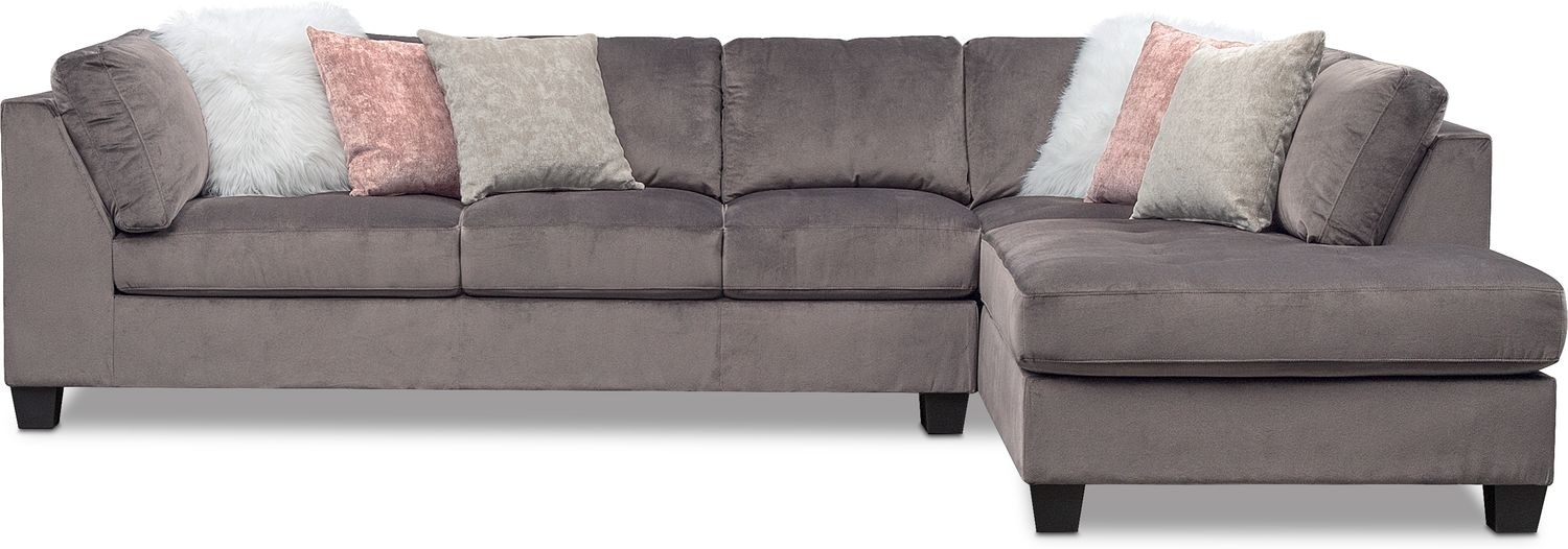 Mackenzie 2-Piece Sectional With Right-Facing Chaise - Gray | Value in Glamour Ii 3 Piece Sectionals (Image 20 of 30)