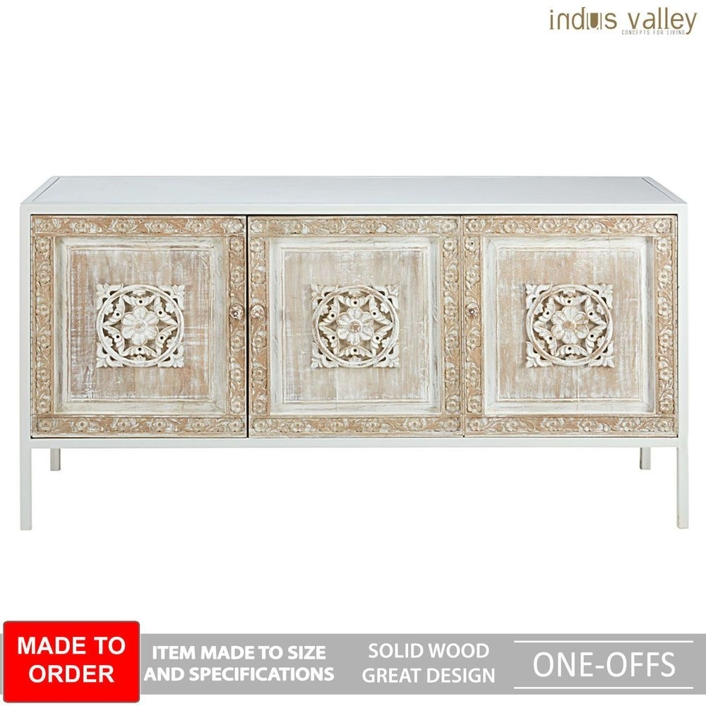 Made To Order Floral Carved Wood Metal Base Sideboard Buffet Hutch within 4-Door 3-Drawer White Wash Sideboards (Image 16 of 30)
