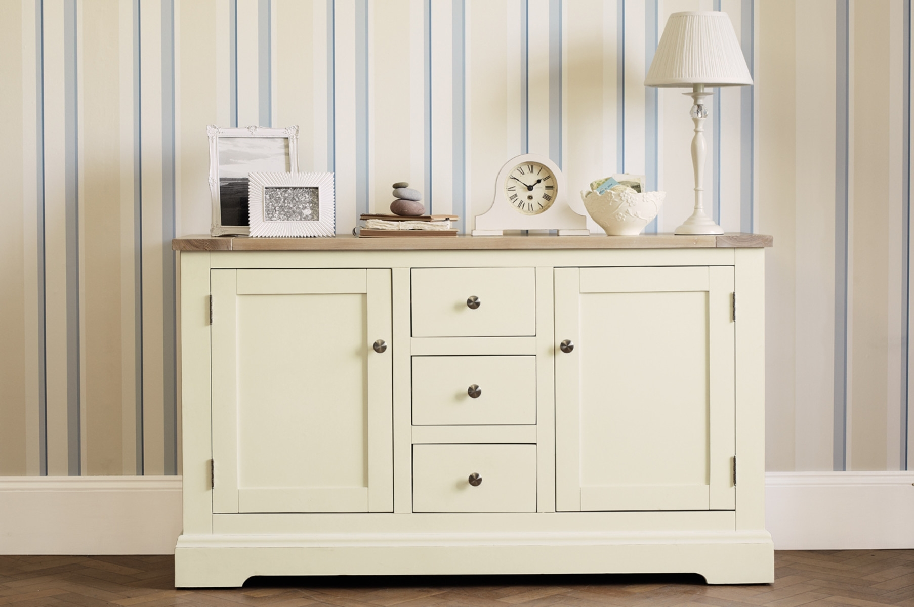 Made To Order Furniture - Dorset White 2 Door 3 Drawer Sideboard in Antique White Distressed 3-Drawer/2-Door Sideboards (Image 20 of 30)