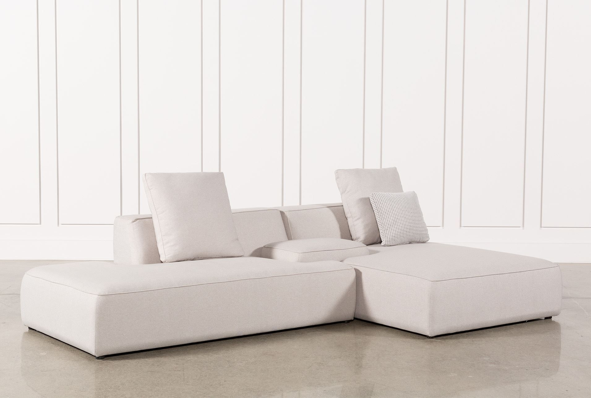 Maggie Light Grey 3 Piece Sectional W/raf Chaise & Solid Stool Throughout Aquarius Light Grey 2 Piece Sectionals With Laf Chaise (View 7 of 30)