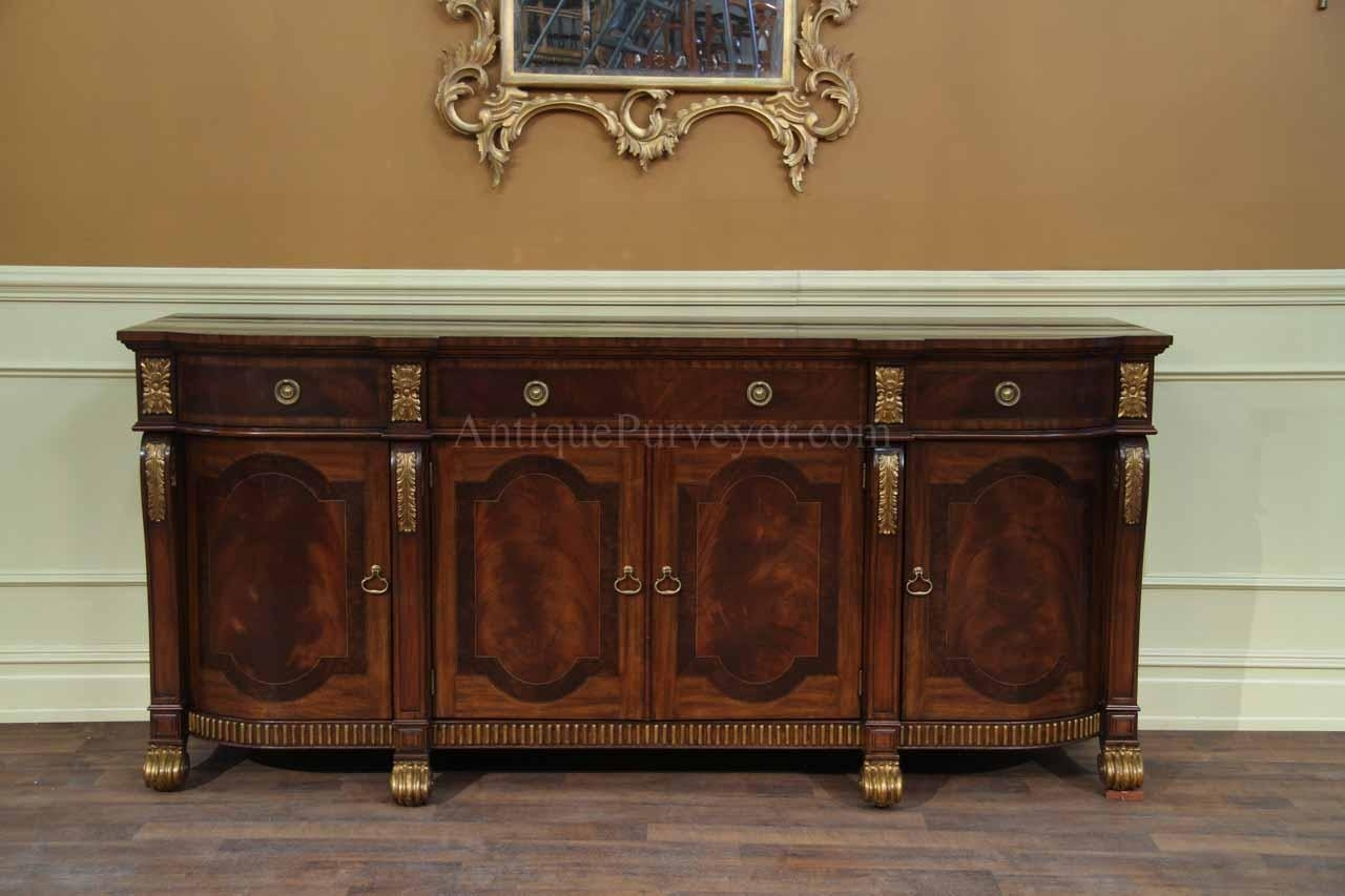 Mahogany Sideboard With Gold Leaf Accents For The Dining Room regarding 4-Door/4-Drawer Cast Jali Sideboards (Image 16 of 30)
