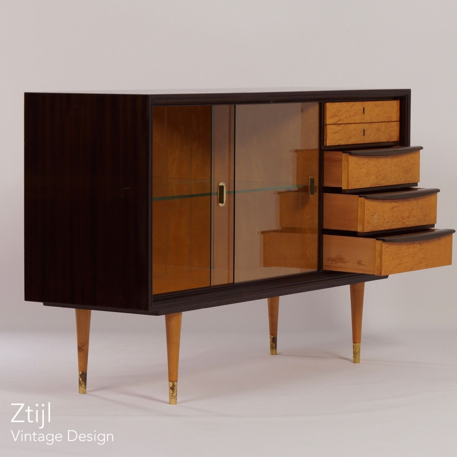 Mahogany Sideboard With Showcase And Brass Details, 1960S - Vintage in Aged Brass Sideboards (Image 19 of 30)