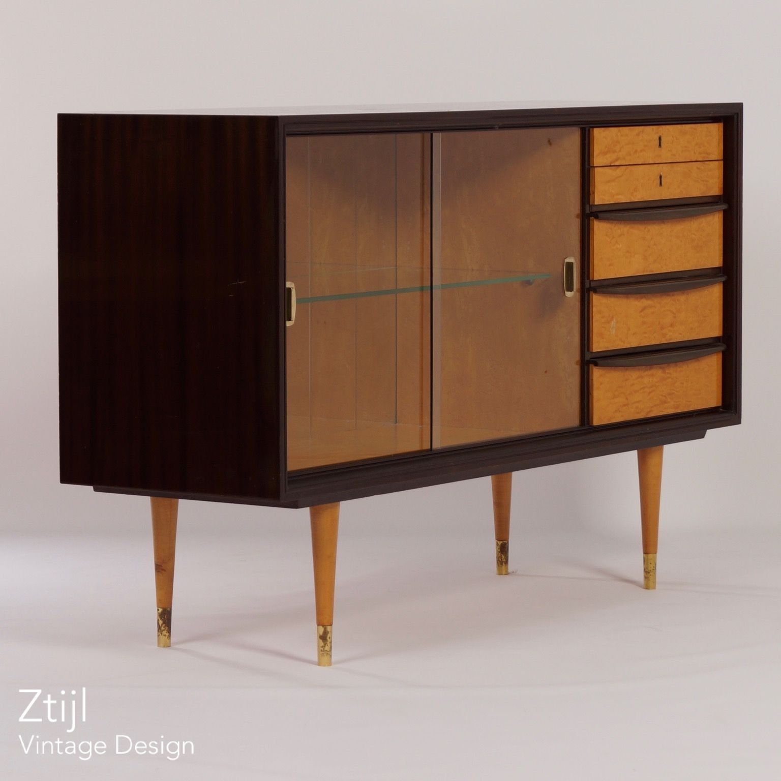 Mahogany Sideboard With Showcase And Brass Details, 1960S - Vintage intended for Vintage 8 Glass Sideboards (Image 14 of 30)