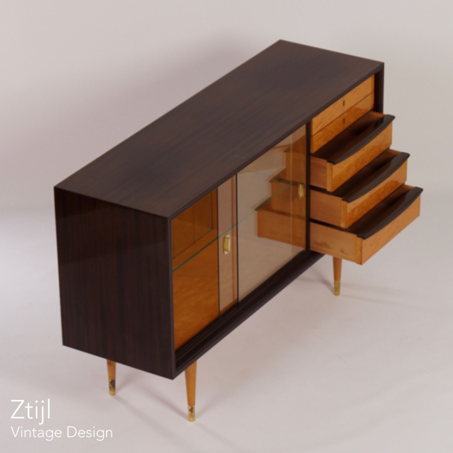 Mahogany Sideboard With Showcase And Brass Details, 1960S - Vintage intended for Vintage 8 Glass Sideboards (Image 15 of 30)