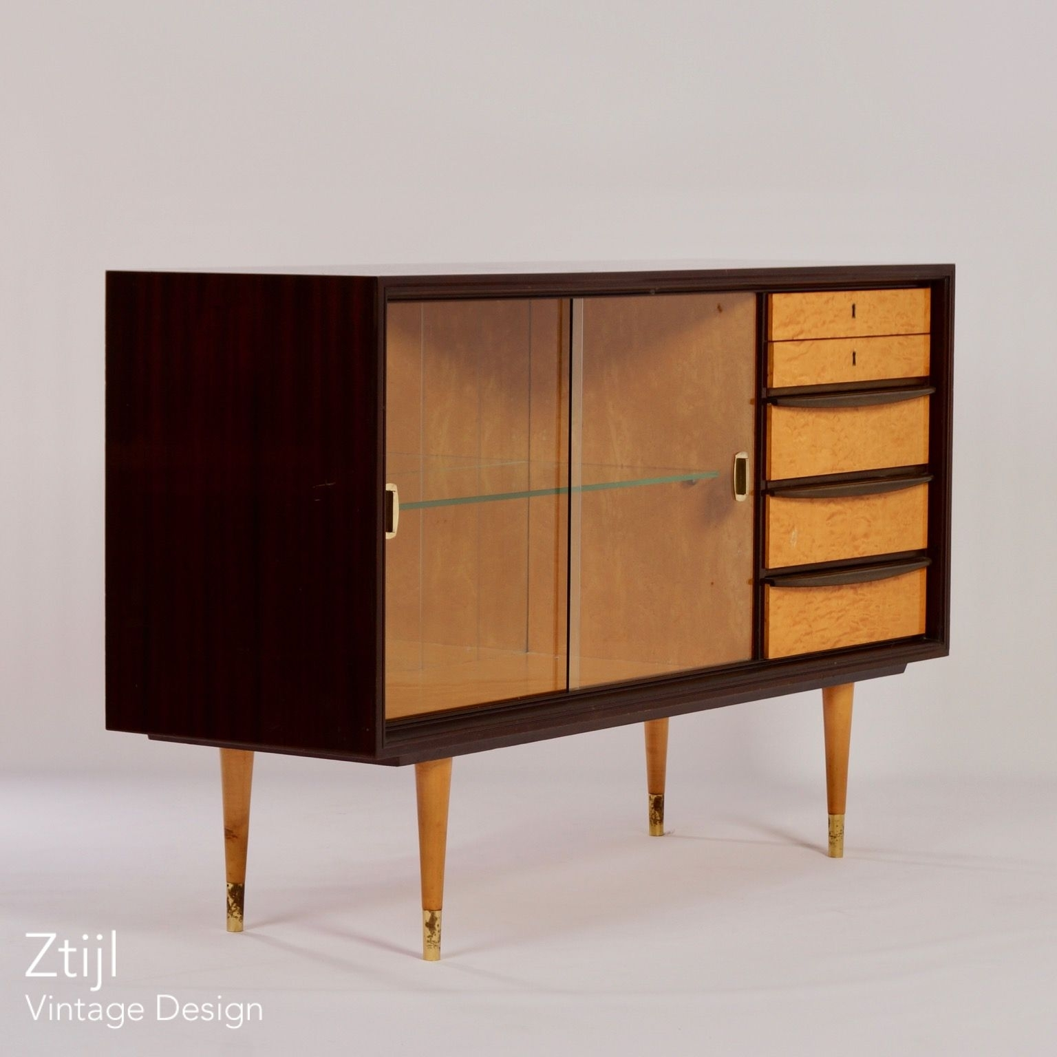 Mahogany Sideboard With Showcase And Brass Details, 1960S - Vintage intended for Vintage 8 Glass Sideboards (Image 13 of 30)