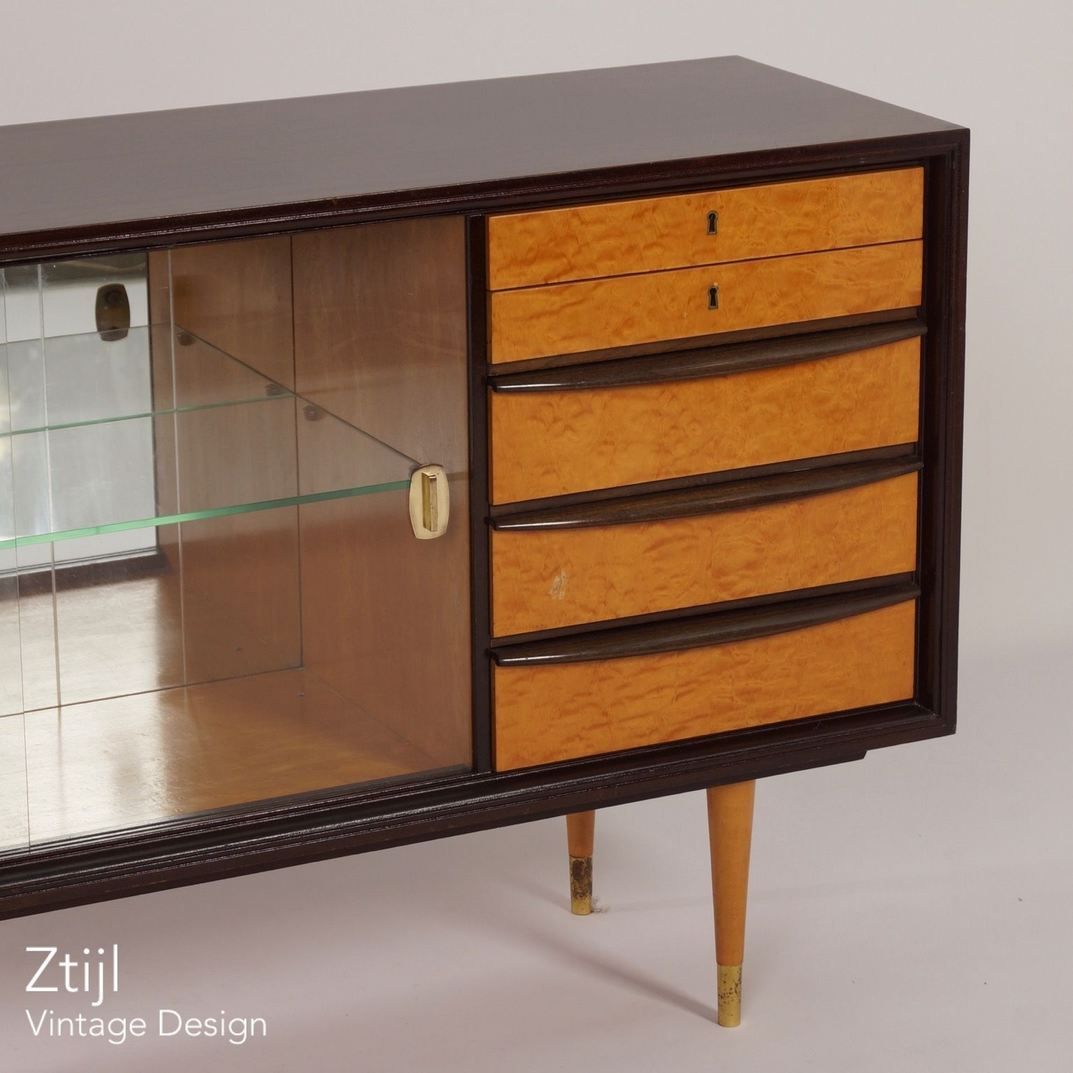 Mahogany Sideboard With Showcase And Brass Details, 1960S - Vintage pertaining to Vintage 8 Glass Sideboards (Image 16 of 30)