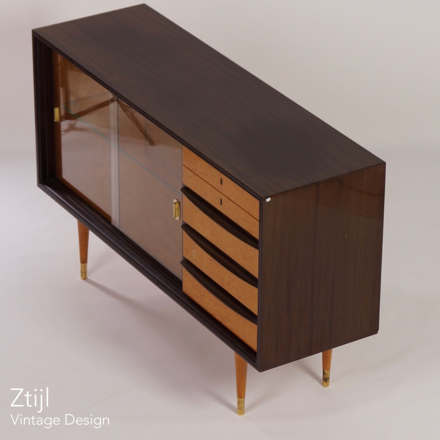 Mahogany Sideboard With Showcase And Brass Details, 1960S - Vintage regarding Vintage 8 Glass Sideboards (Image 17 of 30)