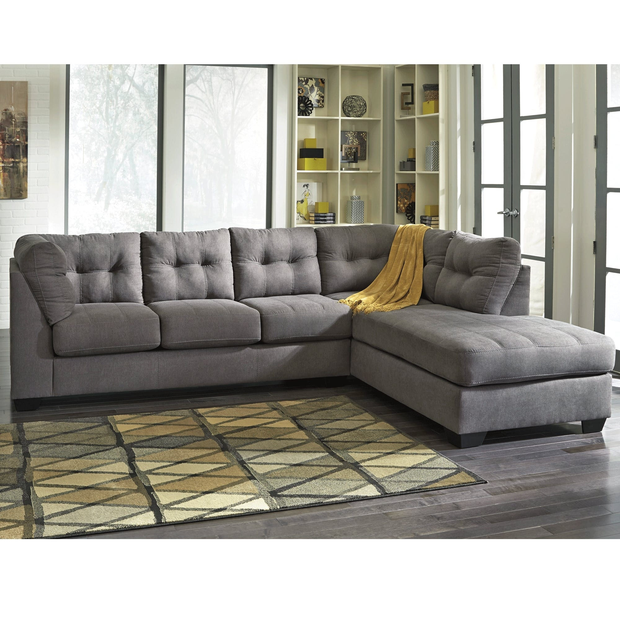 Maier Charcoal 2 Piece Sectional - Bernie & Phyl's Furniture - regarding Cosmos Grey 2 Piece Sectionals With Laf Chaise (Image 16 of 30)
