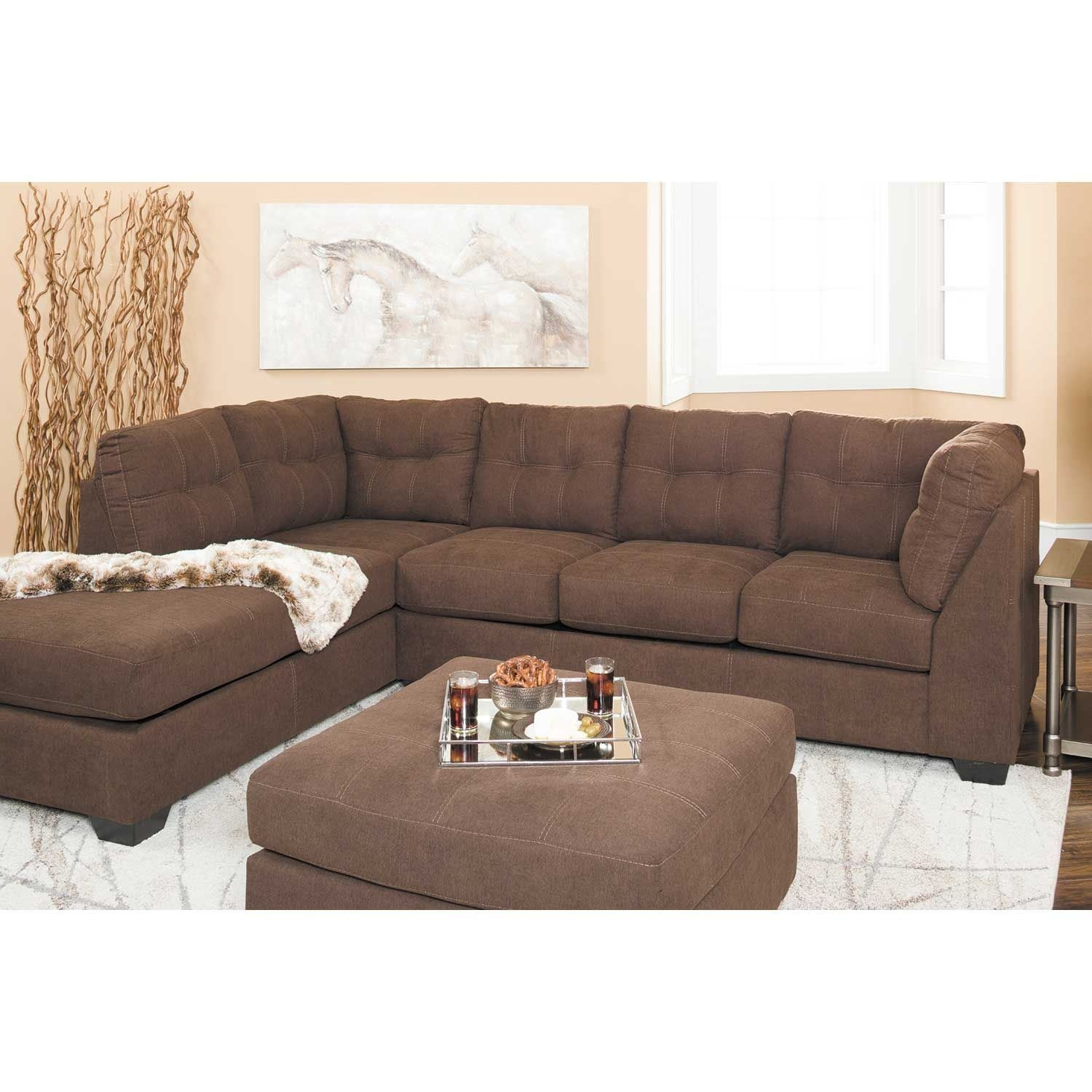 Maier Walnut 2 Piece Sectional With Laf Chaise | 4520116/67 | Ashley intended for Arrowmask 2 Piece Sectionals With Sleeper & Right Facing Chaise (Image 19 of 30)