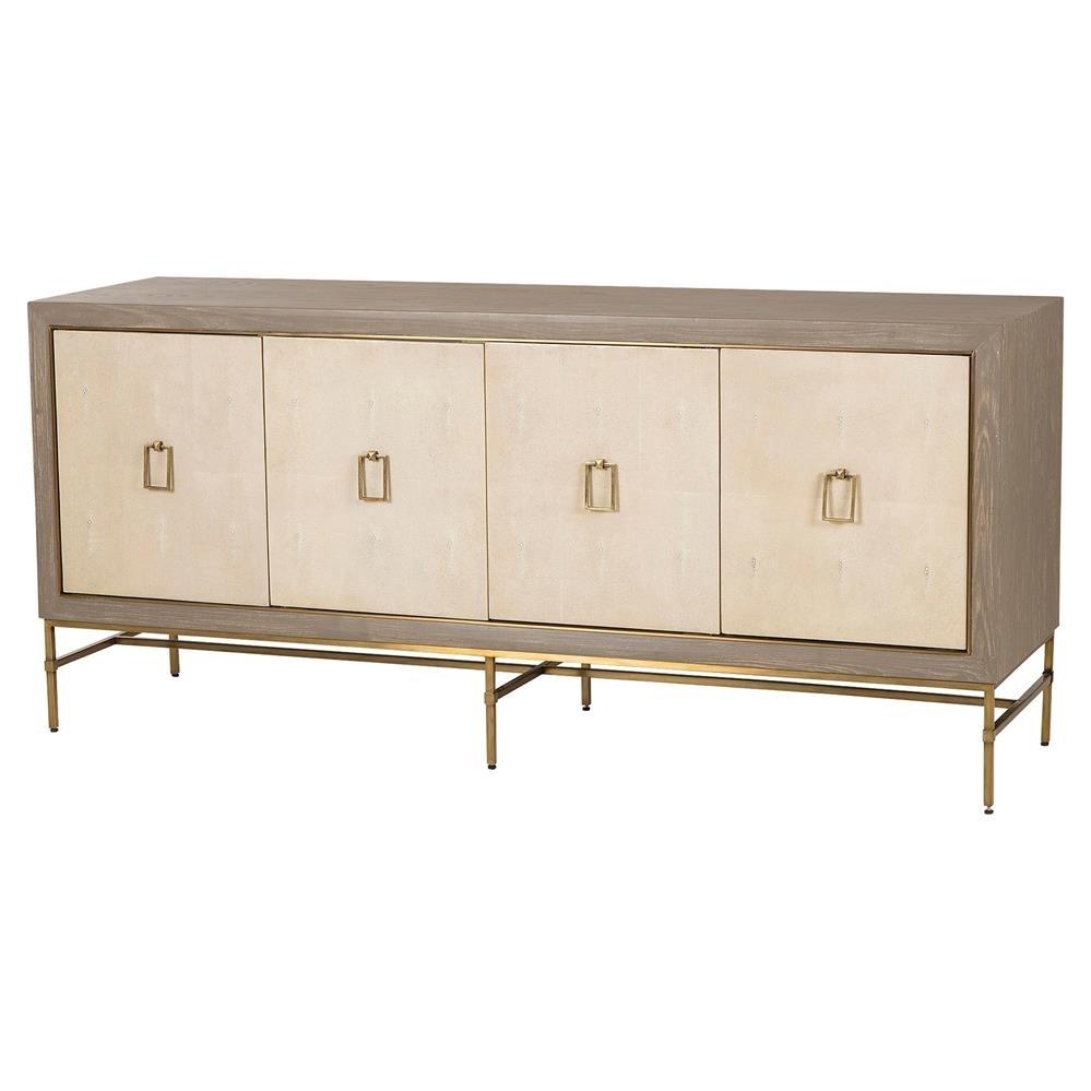 Maison 55 Lexi Hollywood Regency Cream Shagreen 3 Cabinet Sideboard inside Square Brass 4 Door Sideboards (Image 19 of 30)
