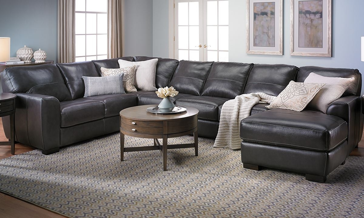 Malcolm Italian Leather Sectional With Chaise | The Dump Luxe for Norfolk Grey 3 Piece Sectionals With Raf Chaise (Image 19 of 30)