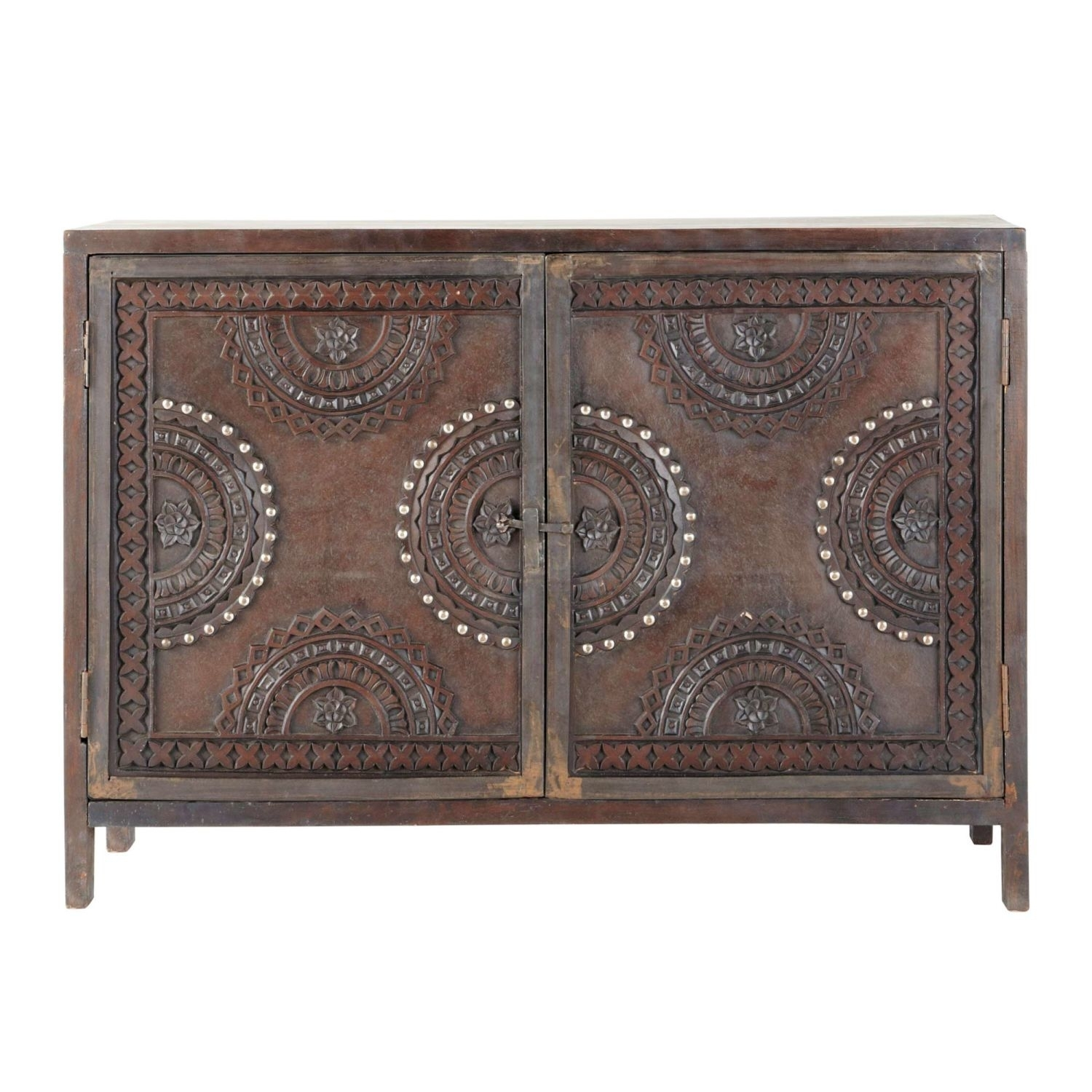 Mango Wood Carved Sideboard In Brown W 115Cm | Maisons Du Monde intended for Carved 4 Door Metal Frame Sideboards (Image 27 of 30)