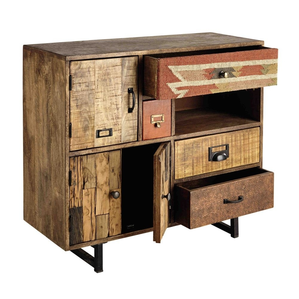 Mango Wood Storage Cabinet With 2 Doors And 4 Drawers | Wood Storage with Mango Wood Grey 4-Drawer 4-Door Sideboards (Image 18 of 30)