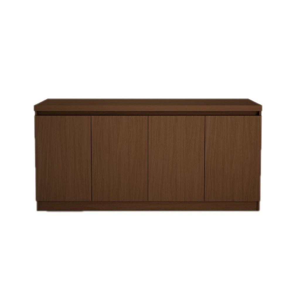 Manhattan Comfort Viennese 5 Ft. 4-Door Nut Brown Buffet Or inside Metal Refinement 4 Door Sideboards (Image 21 of 30)