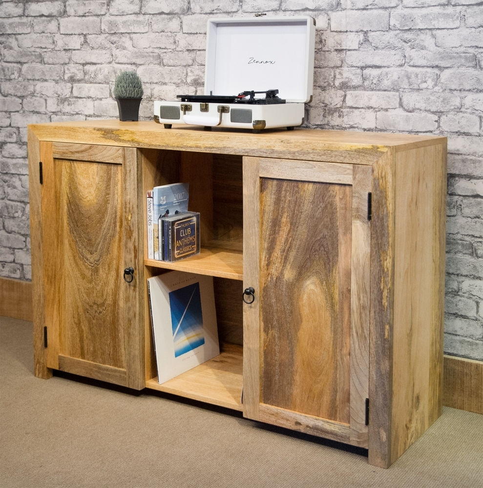 Mantis Solid Natural Mango Wood Sideboard 2X Cupboard, Media Unit Lp with 4-Door/4-Drawer Cast Jali Sideboards (Image 17 of 30)