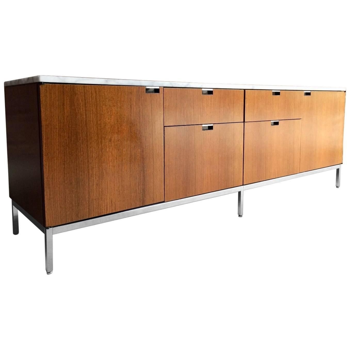Marble-Topped Light Walnut Credenza Or Sideboardflorence Knoll with regard to Starburst 3 Door Sideboards (Image 15 of 30)