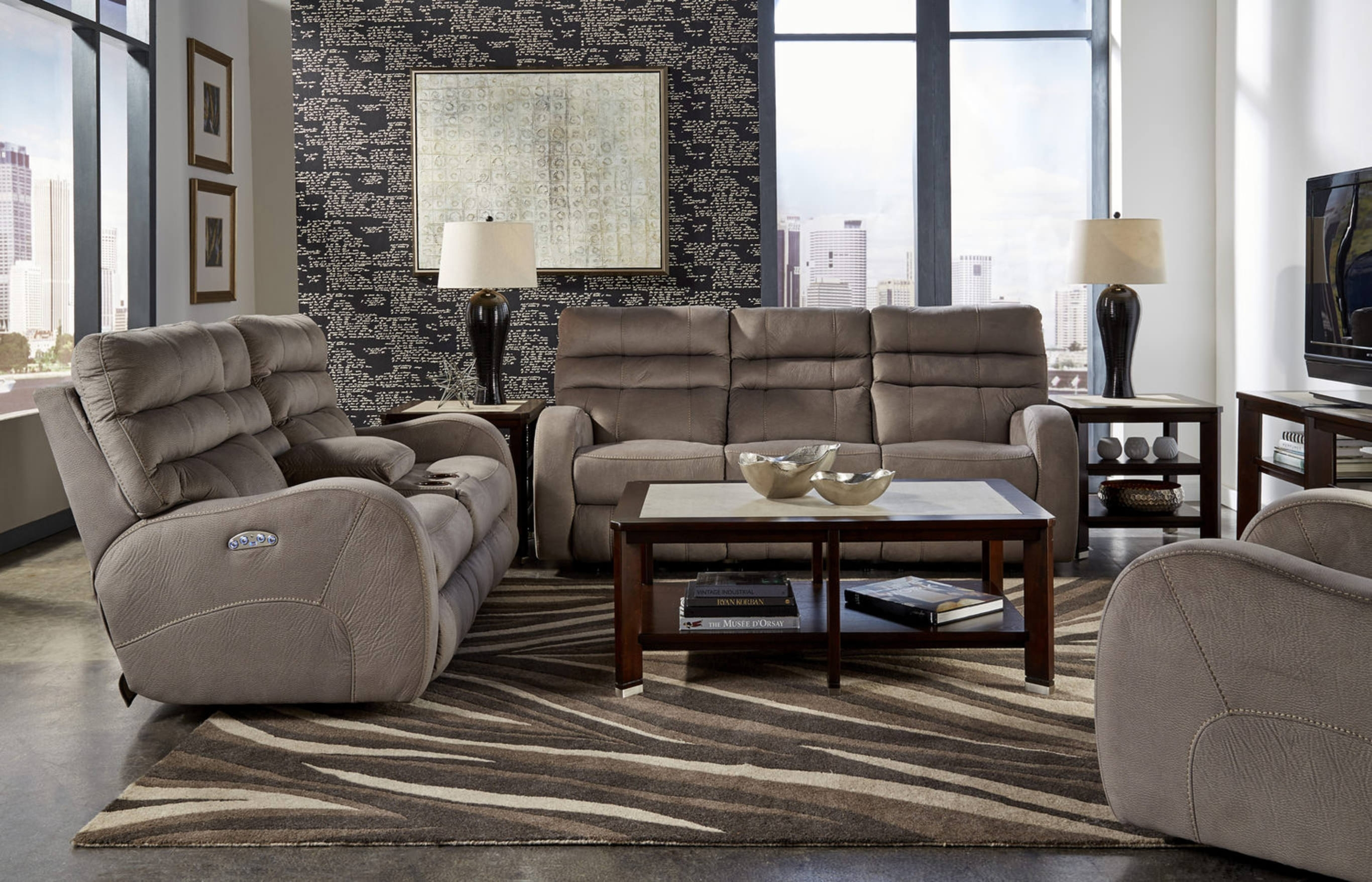 Marcus 3 Piece Leather Power Reclining Home | Hom Furniture with regard to Marcus Grey 6 Piece Sectionals With  Power Headrest & Usb (Image 13 of 30)