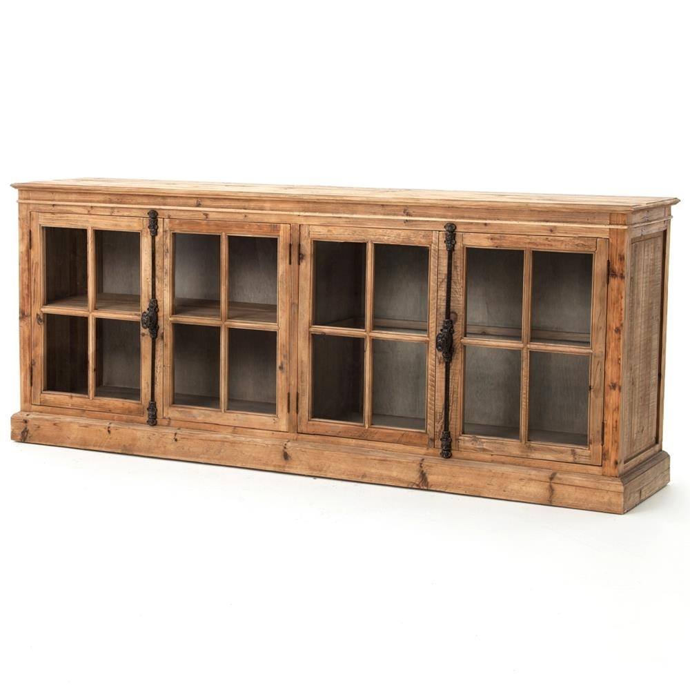 Marin French Country Reclaimed Pine Sideboard Cabinet | Kathy Kuo Home throughout Reclaimed Pine & Iron 72 Inch Sideboards (Image 15 of 30)