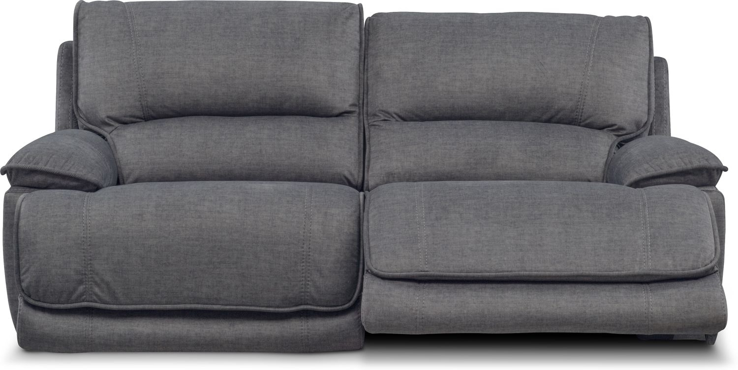 Mario Dual Power Reclining Sofa - Charcoal | Value City Furniture in Marcus Grey 6 Piece Sectionals With  Power Headrest & Usb (Image 17 of 30)