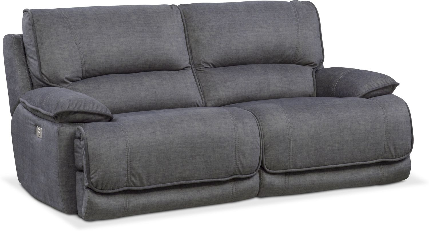 Mario Dual Power Reclining Sofa - Charcoal | Value City Furniture intended for Marcus Grey 6 Piece Sectionals With  Power Headrest & Usb (Image 18 of 30)